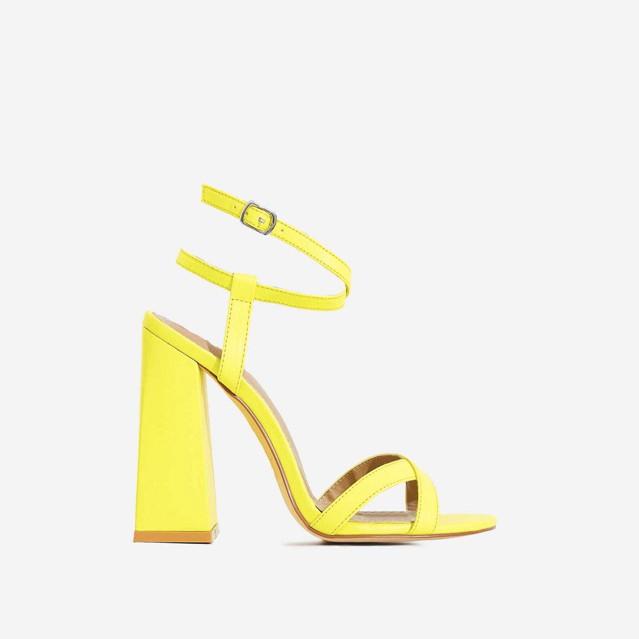 Iris Flared Block Heel In Neon Yellow Faux Leather