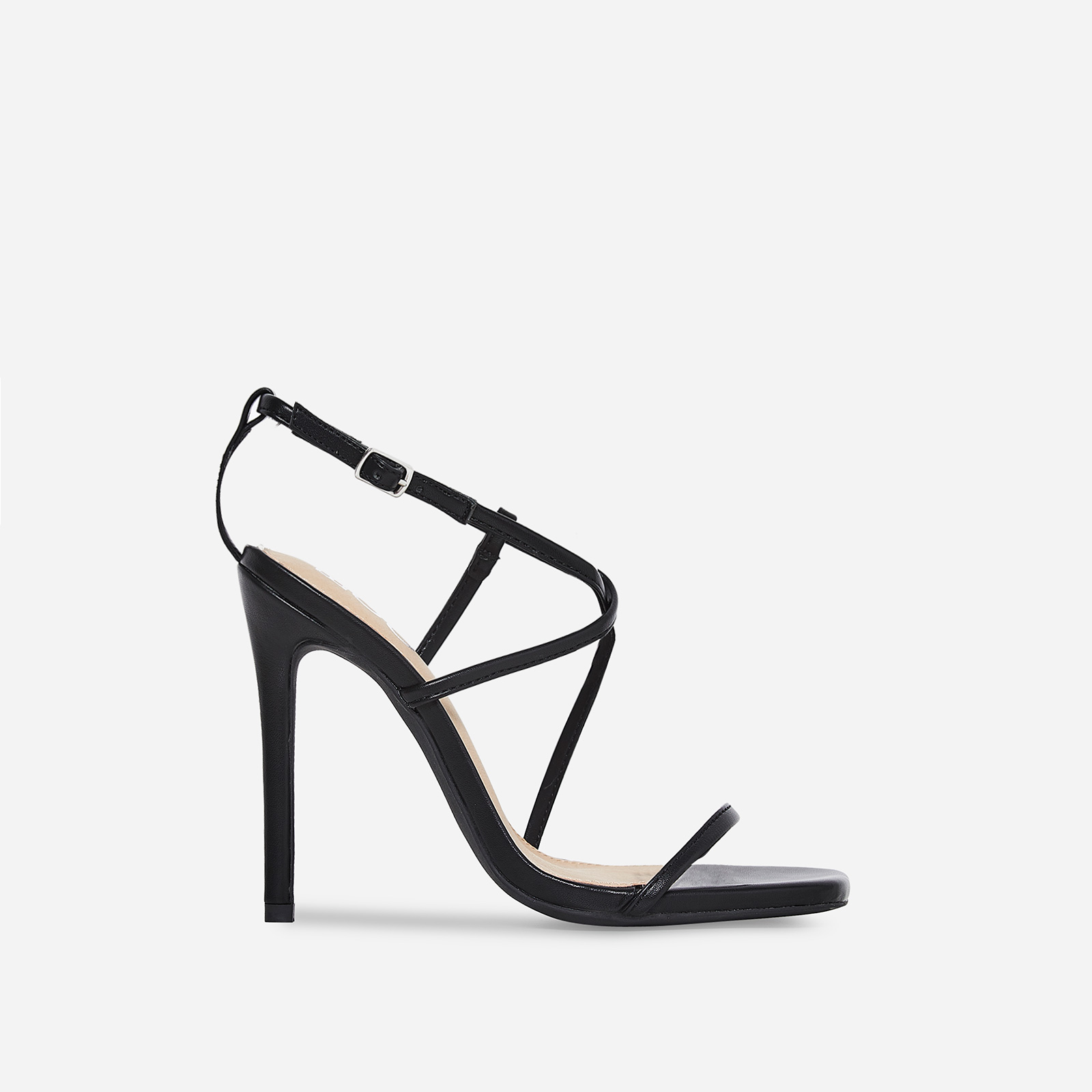 Isabelle Strappy Heel In Black Faux Leather