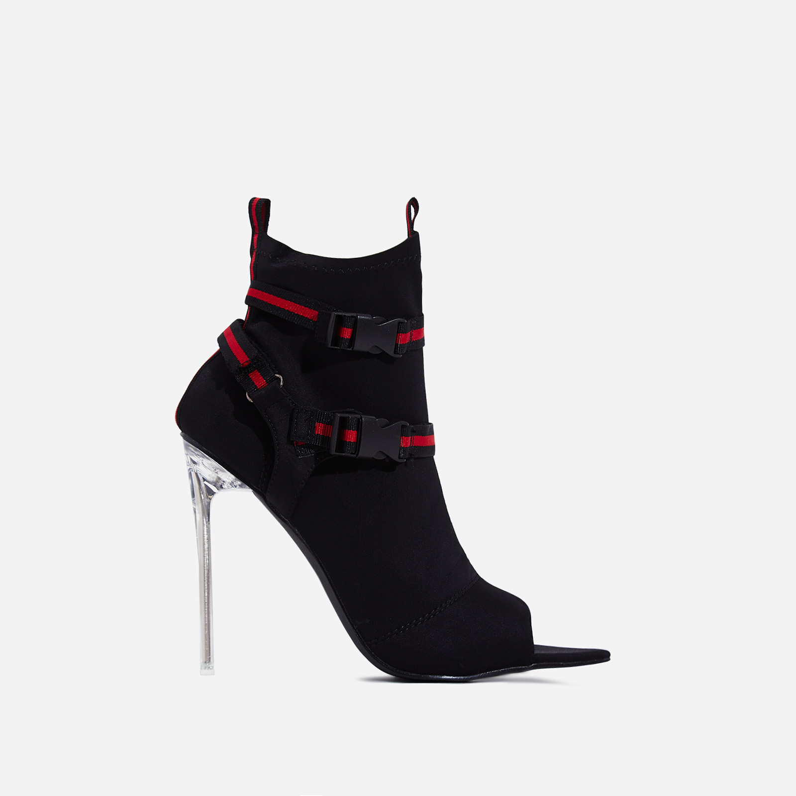 Lit Perspex Buckle Detail Pointed Peep Toe Ankle Sock Boot In Black Lycra
