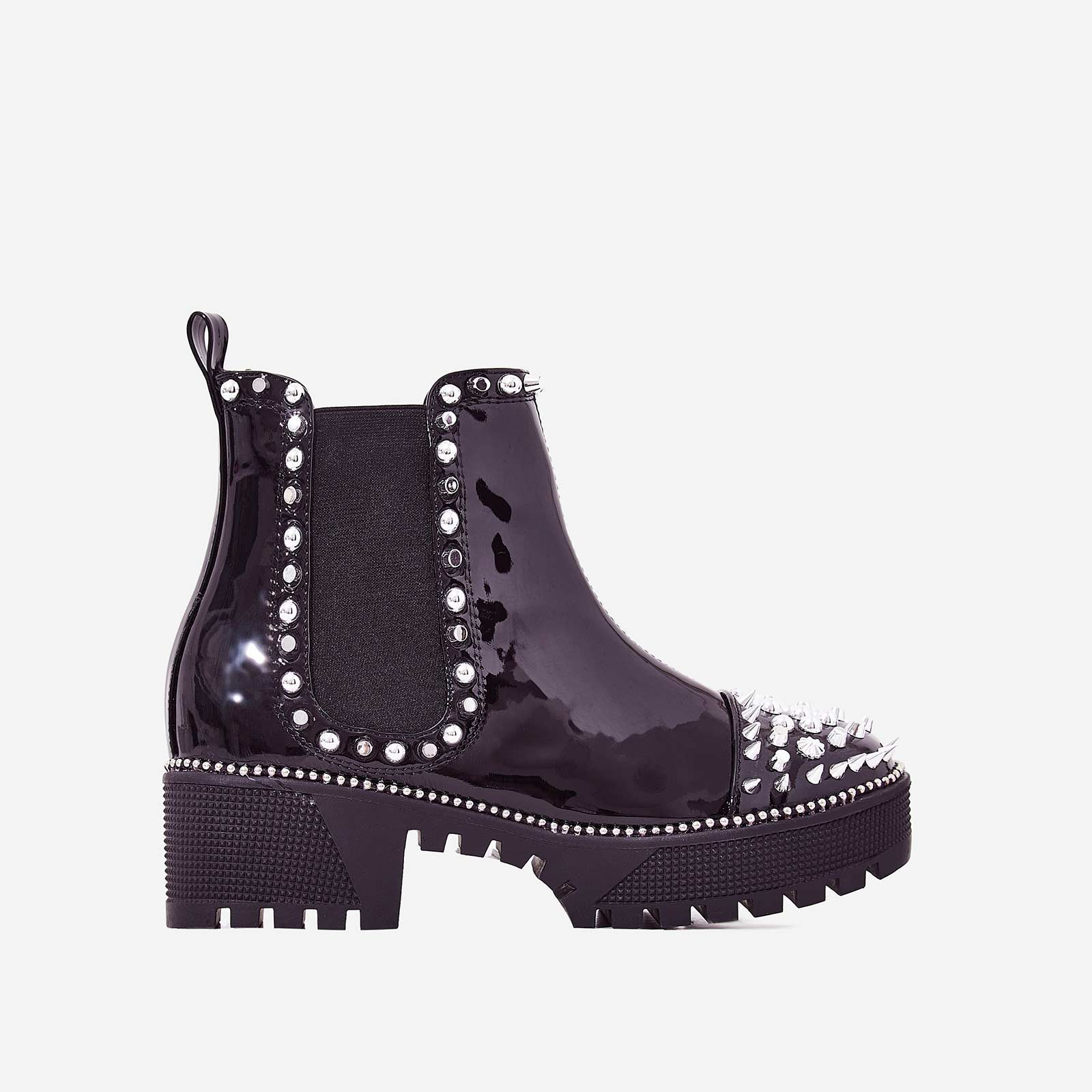Jack Silver Studded Detail Biker Boot In Black Patent
