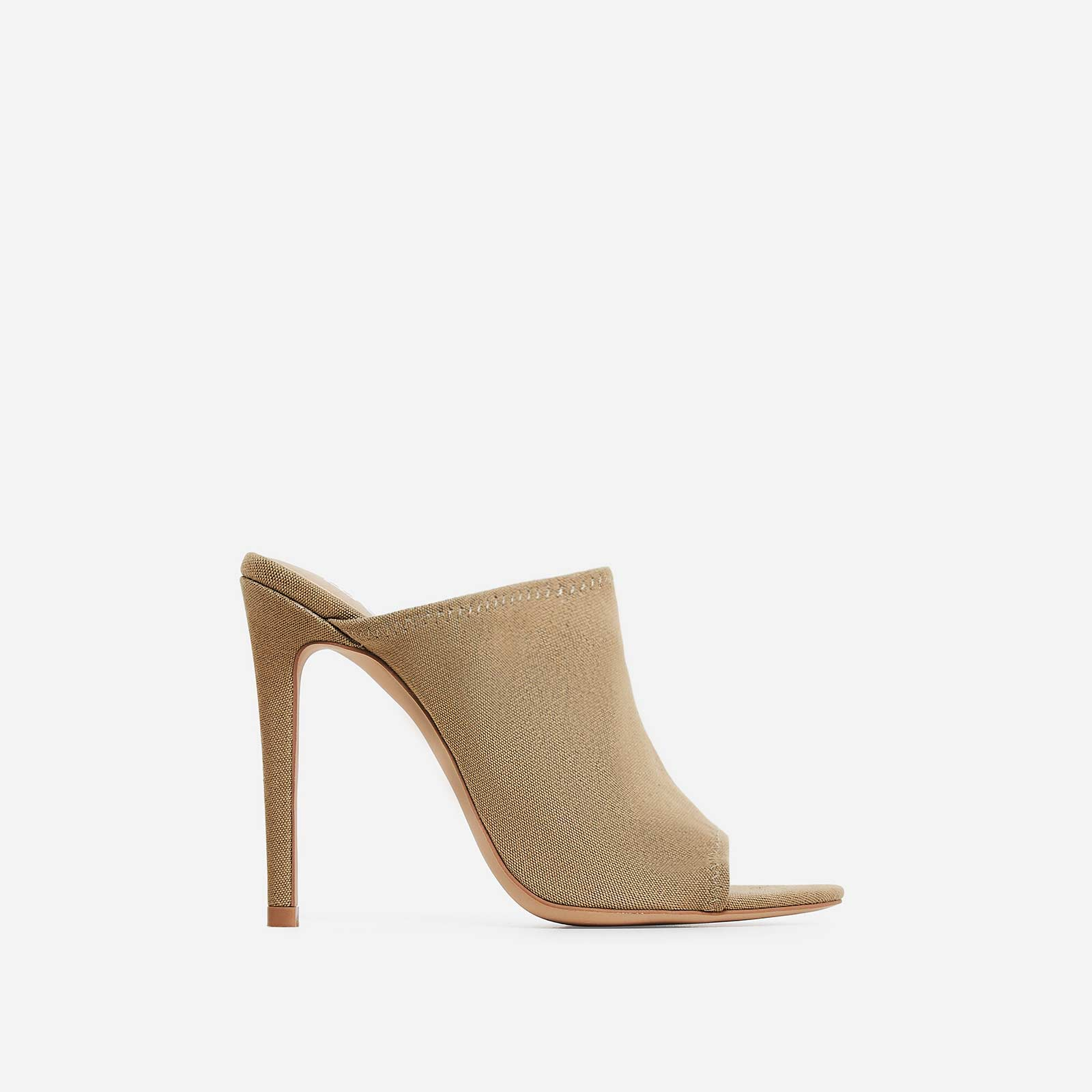 Jade Peep Toe Mule In Khaki Canvas