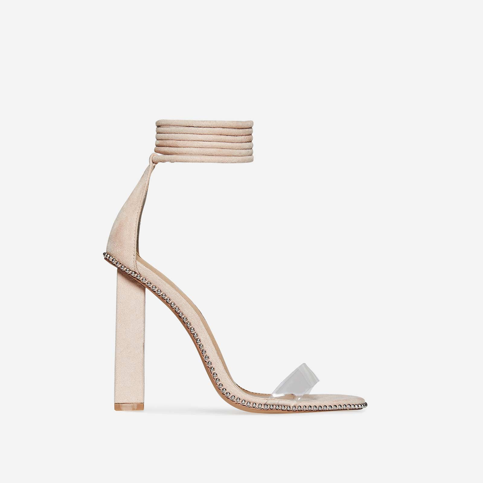 Luica Studded Lace Up Perspex Block Heel In Nude Faux Suede