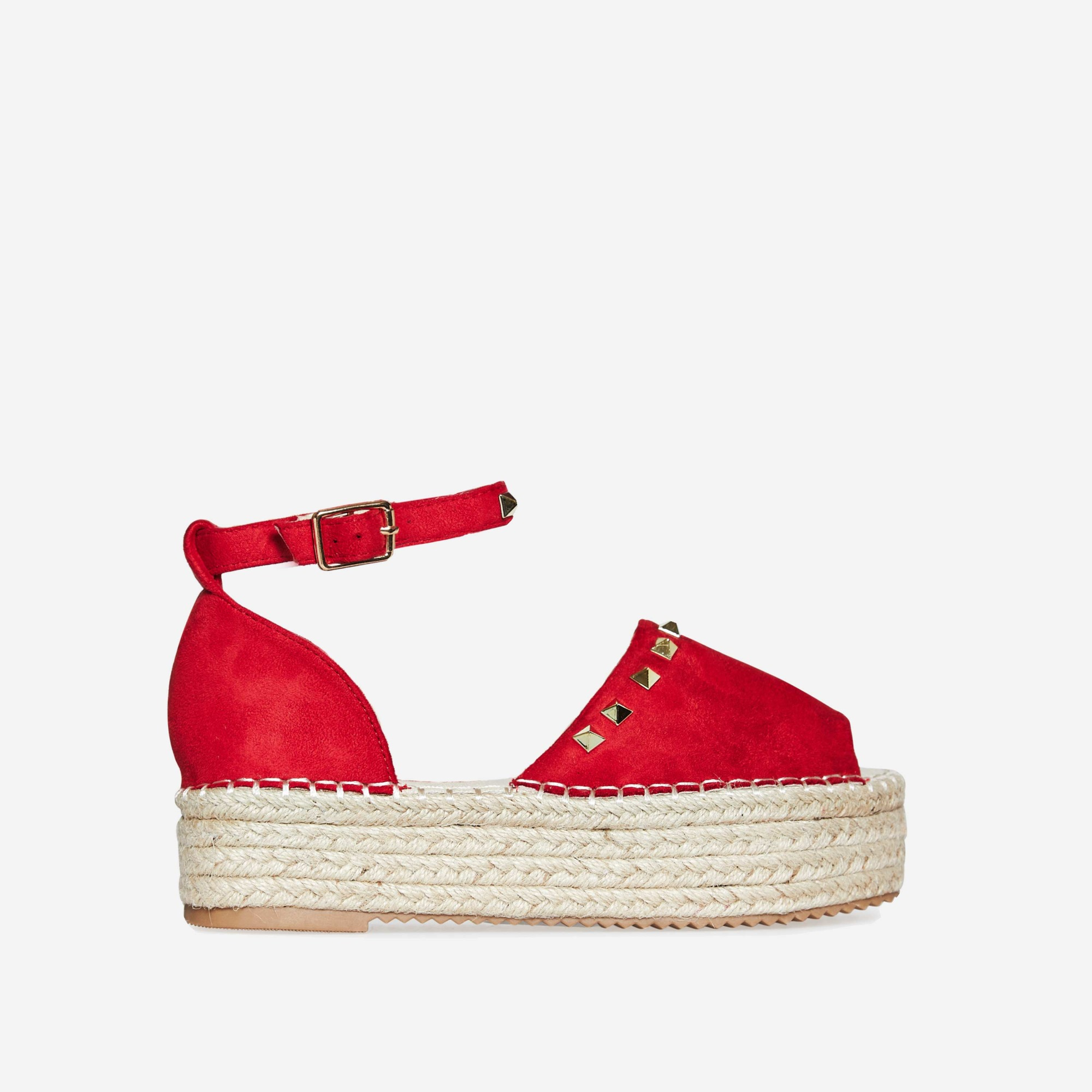 Jelena Studded Detail Flatform Espadrille Sandal In Red Faux Suede