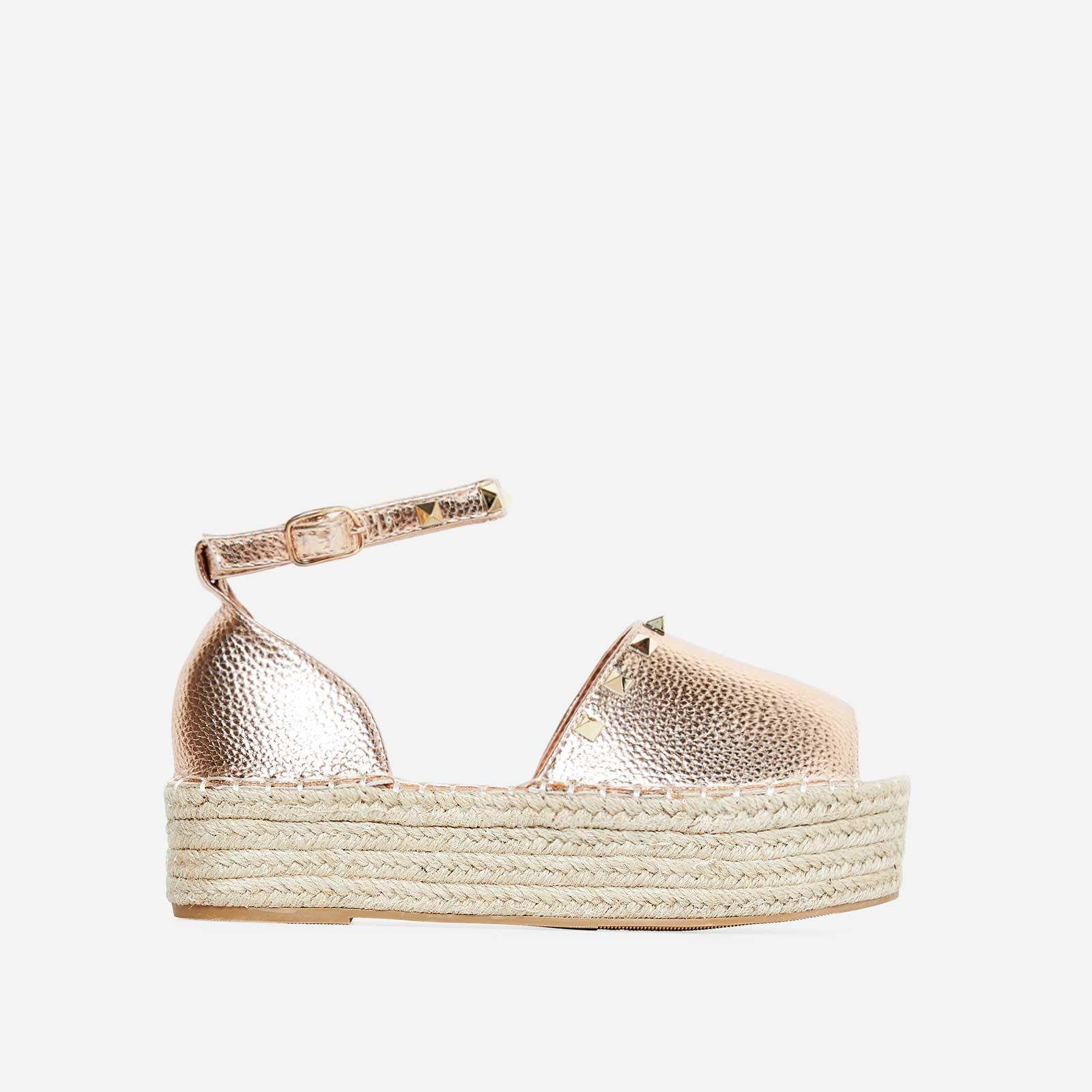 Jelena Studded Detail Flatform Espadrille Sandal In Rose Gold Faux Leather