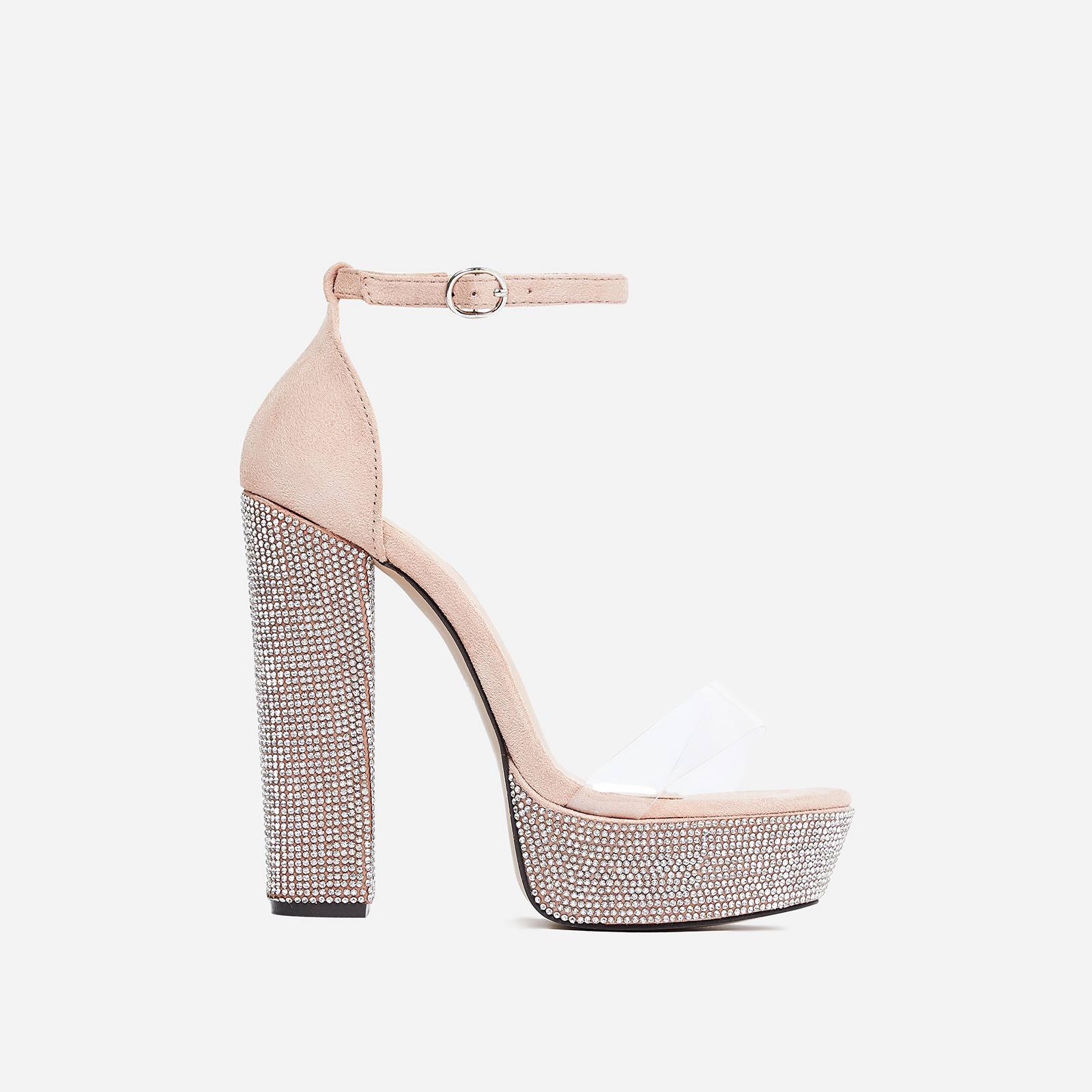 Jo Diamante Detail Perspex Platform Heel In Blush Faux Suede