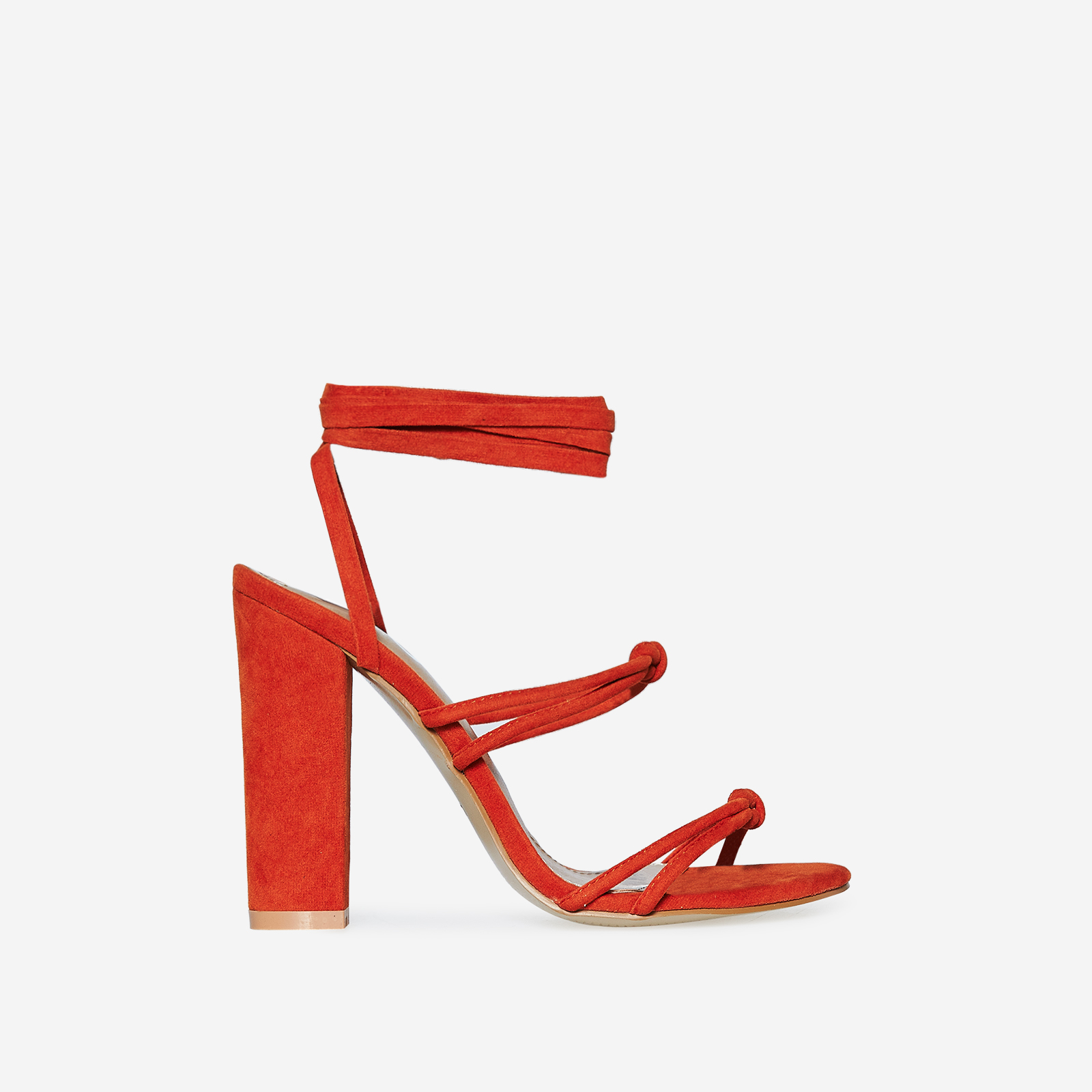 Joice Knot Detail Lace Up Block Heel In Orange Faux Suede