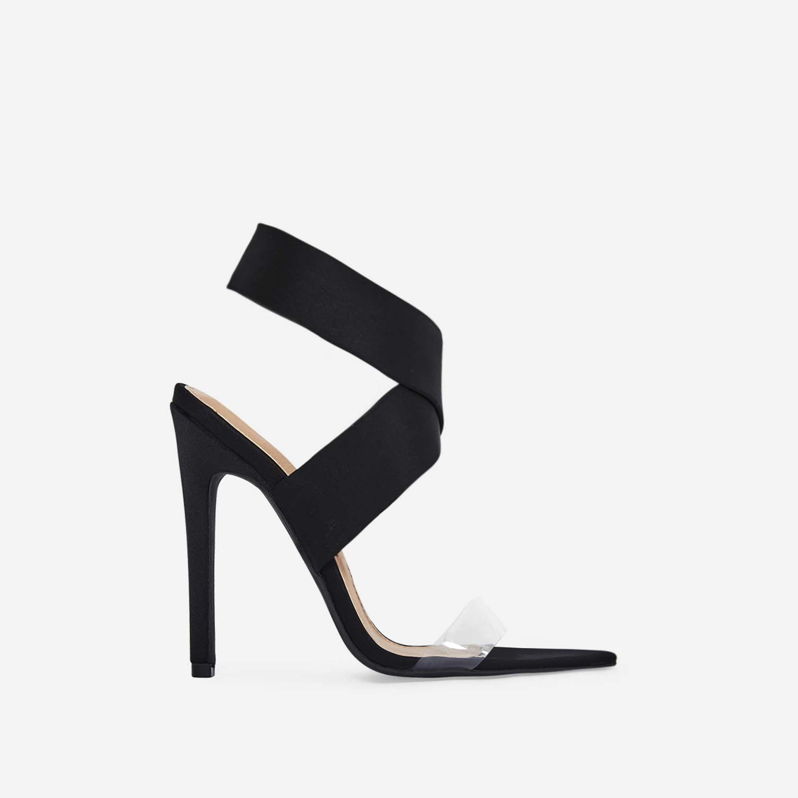 Joma Perspex Detail Heel In Black Lycra