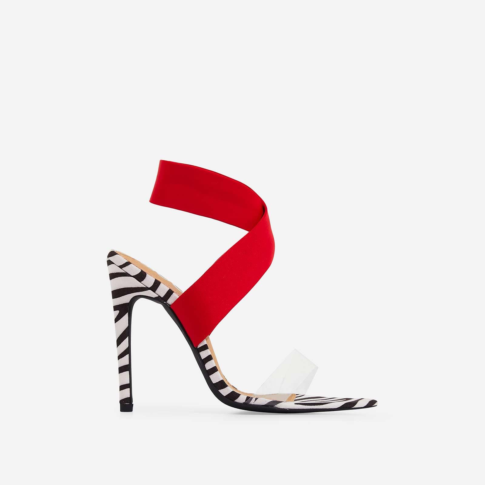 Joma Perspex Detail Heel In Zebra Print Faux Suede