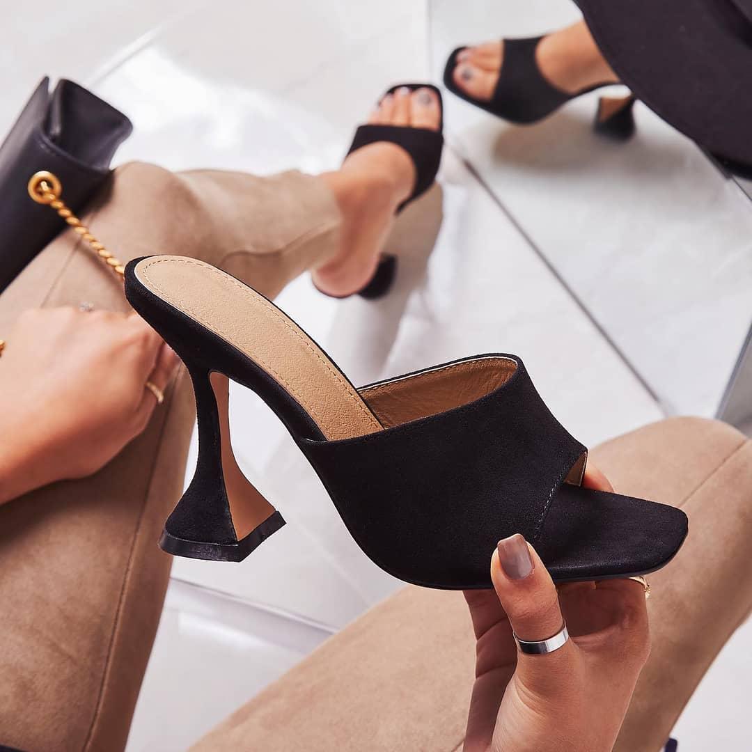 Jordi Peep Square Toe Heel Mule In Black Faux Suede