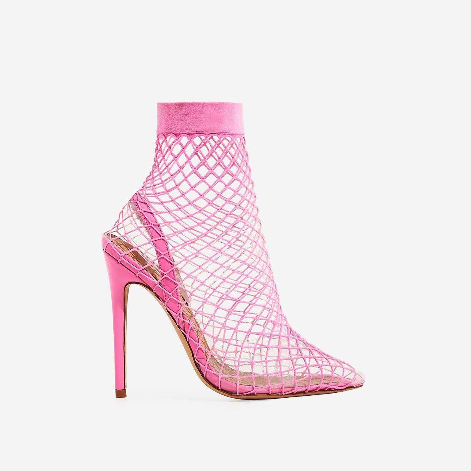 Juan Fishnet Perspex Heel In Pink Patent