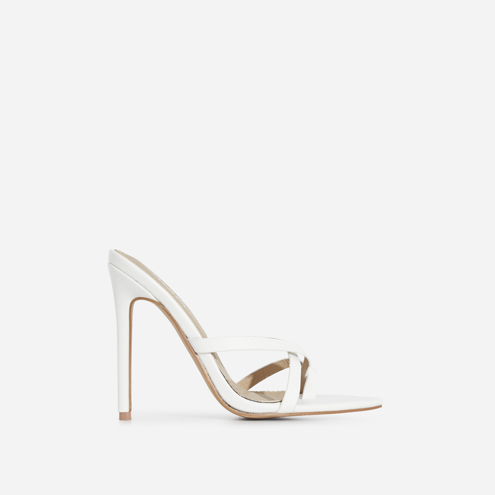 Julie Toe Strap Heel Mule In White Faux Leather