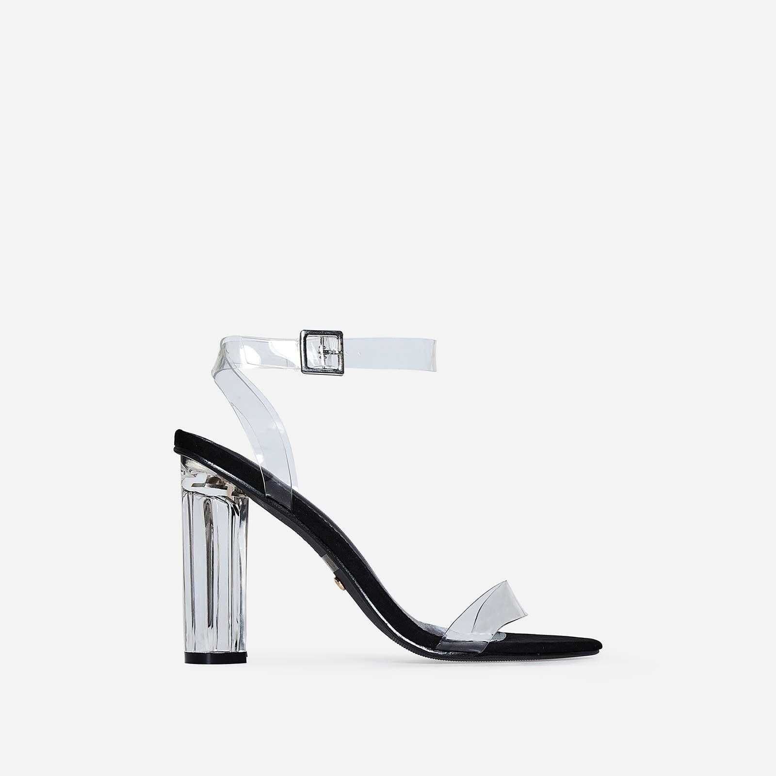 Mara Perspex Heel In Black Faux Suede