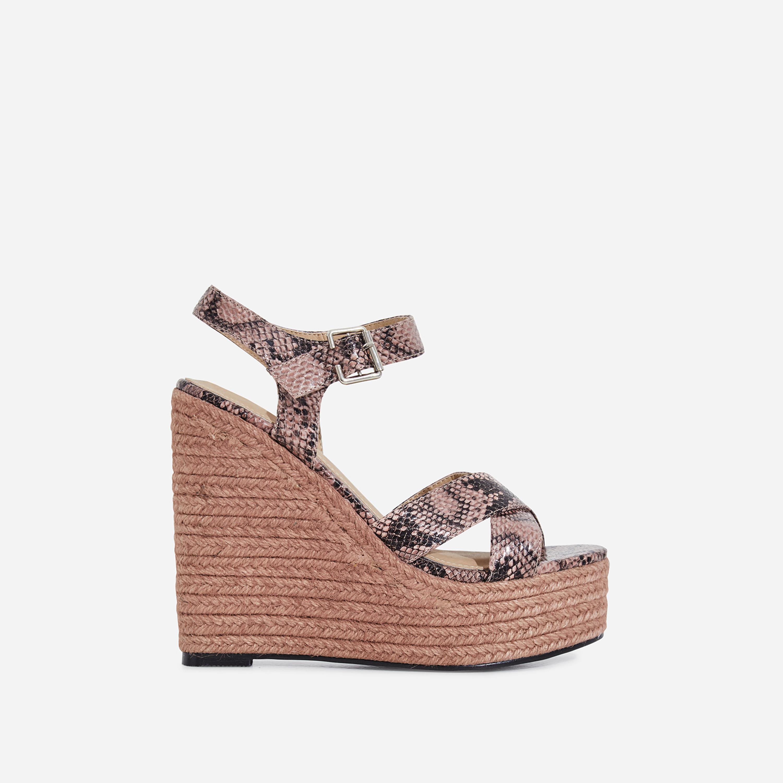 Kadi Espadrille Wedge Platform Heel In Pink Snake Faux Leather