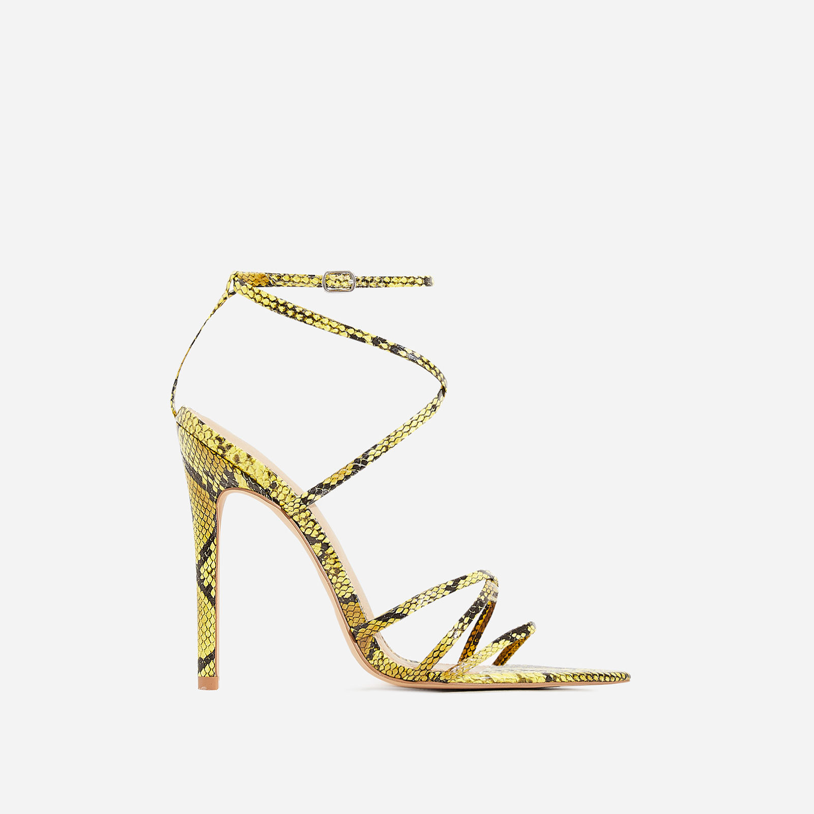 Kaia Pointed Barely There Heel In Yellow Snake Print Faux Leather