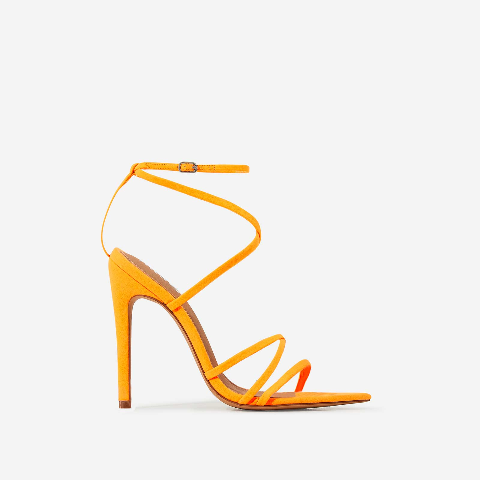 Kaia Pointed Barely There Heel In Neon Orange Faux Suede