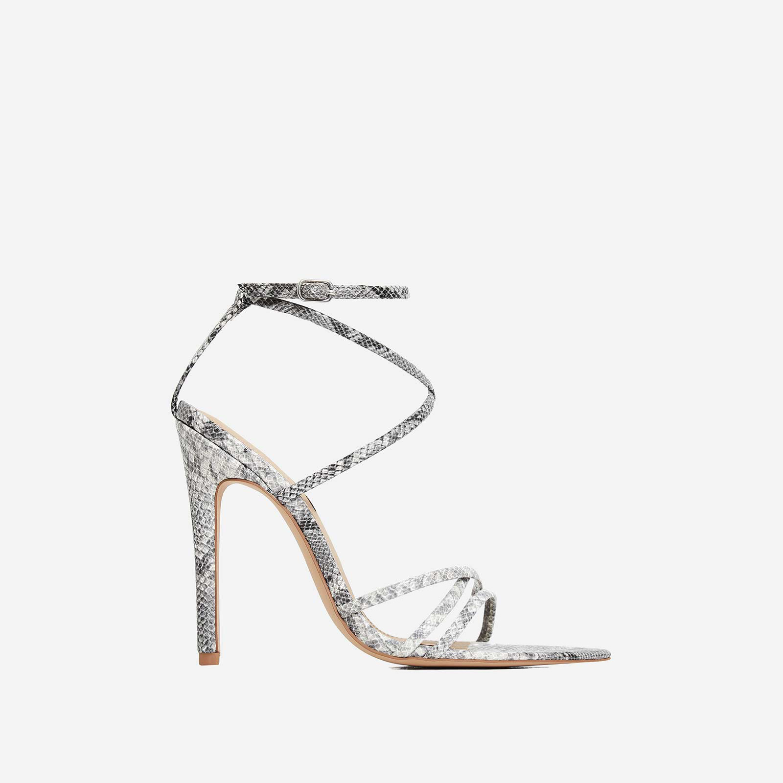 Kaia Pointed Barely There Heel In Grey Snake Print Faux Leather