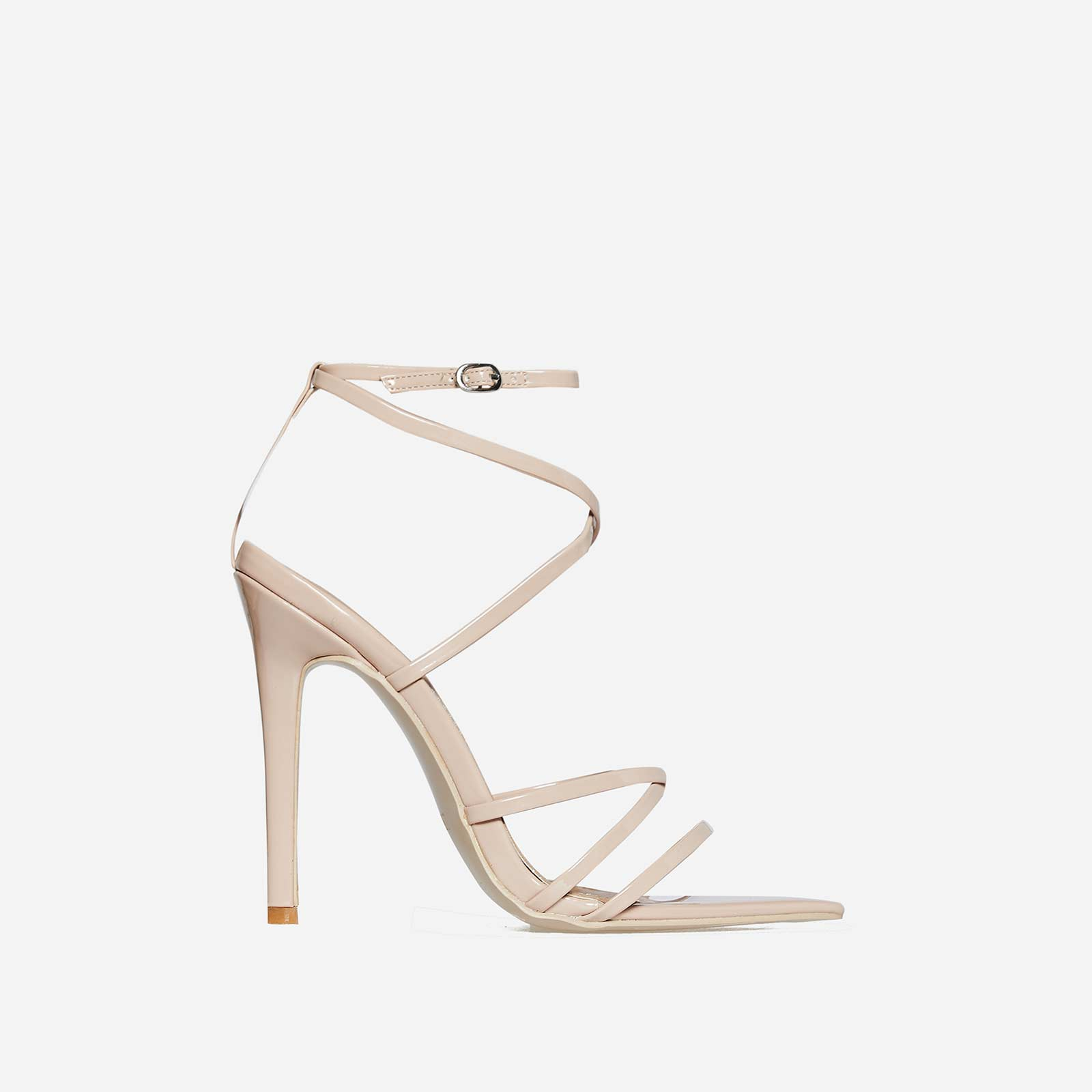 Kaia Pointed Barely There Heel In Nude Patent