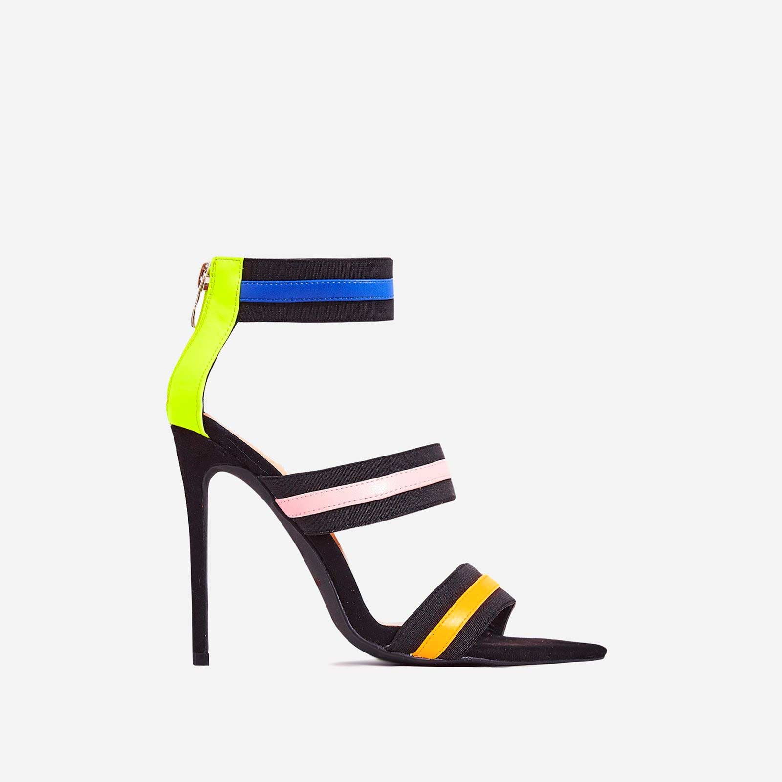 Katrina Neon Elasticated Strap Pointed toe Heel In Black Faux Suede