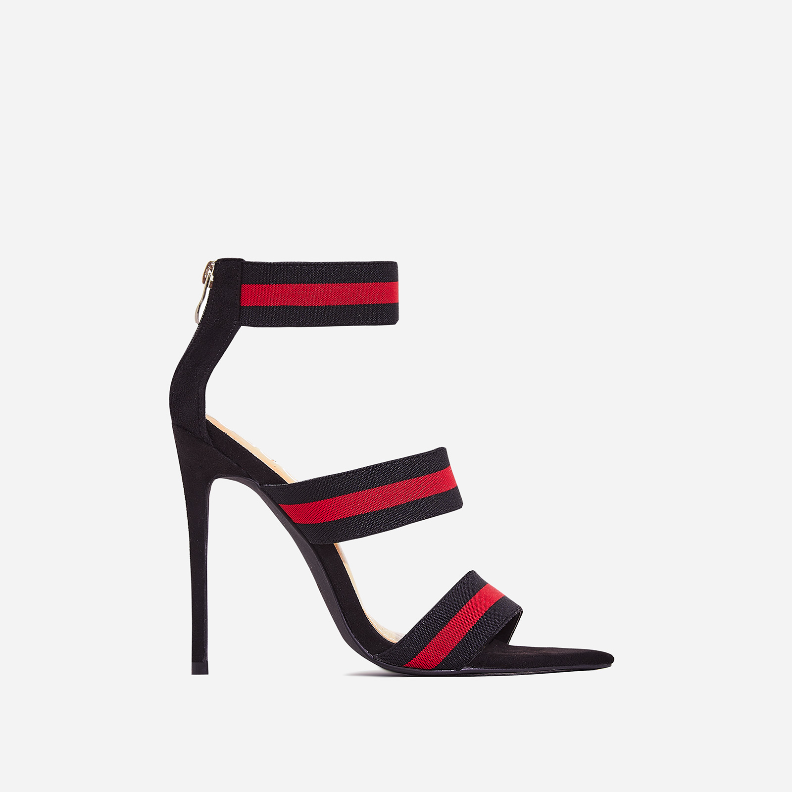 Katrina Red Elasticated Strap Pointed toe Heel In Black Faux Suede