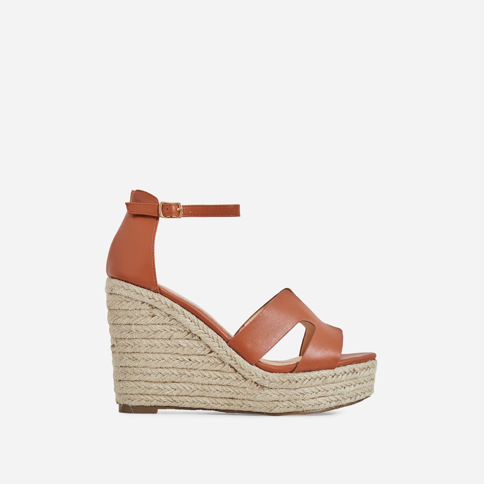 Kayson Platform Espadrille Wedge Block Heel In Tan Faux Leather