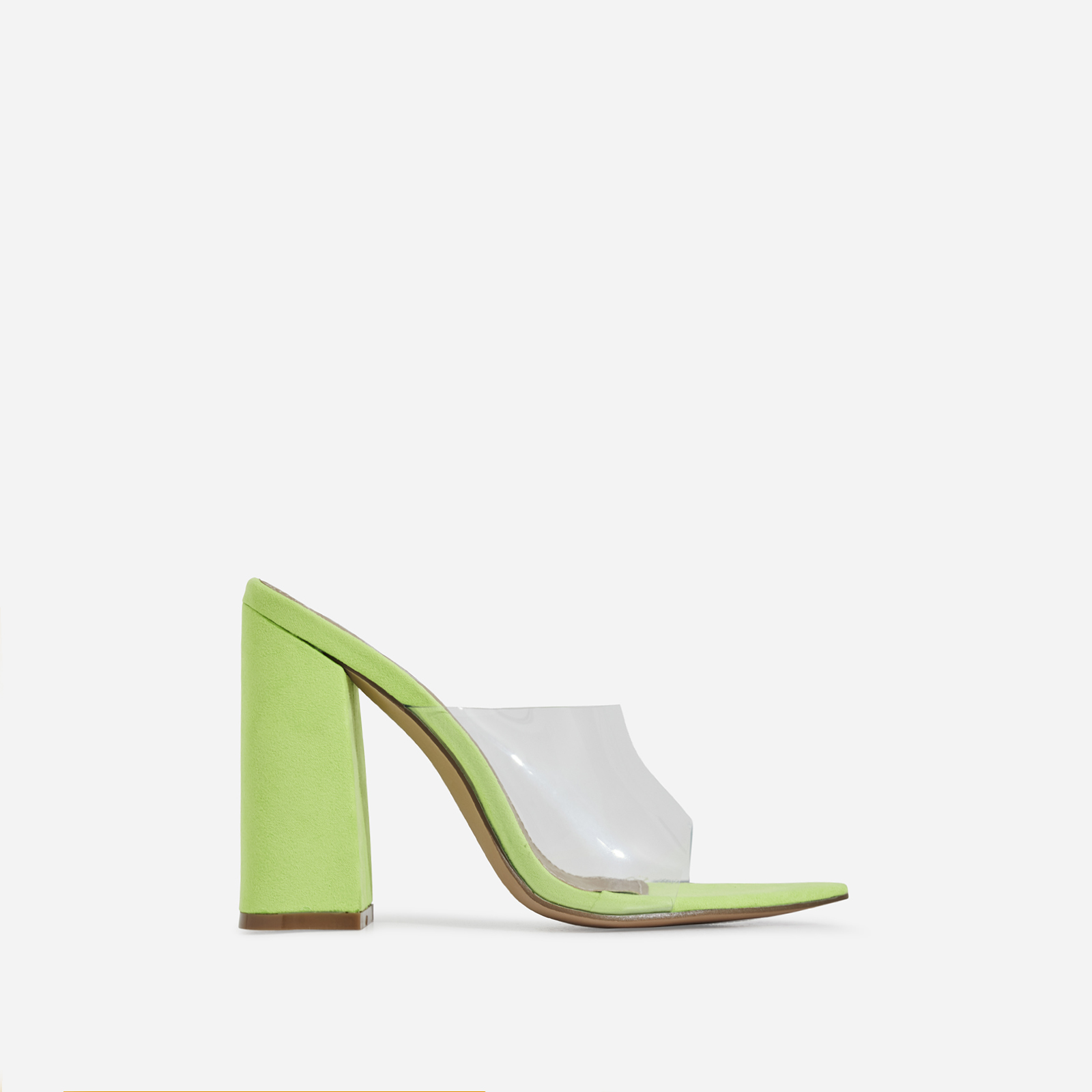 Kelby Pointed Peep Toe Block Heel Mule In Lime Green Faux Suede