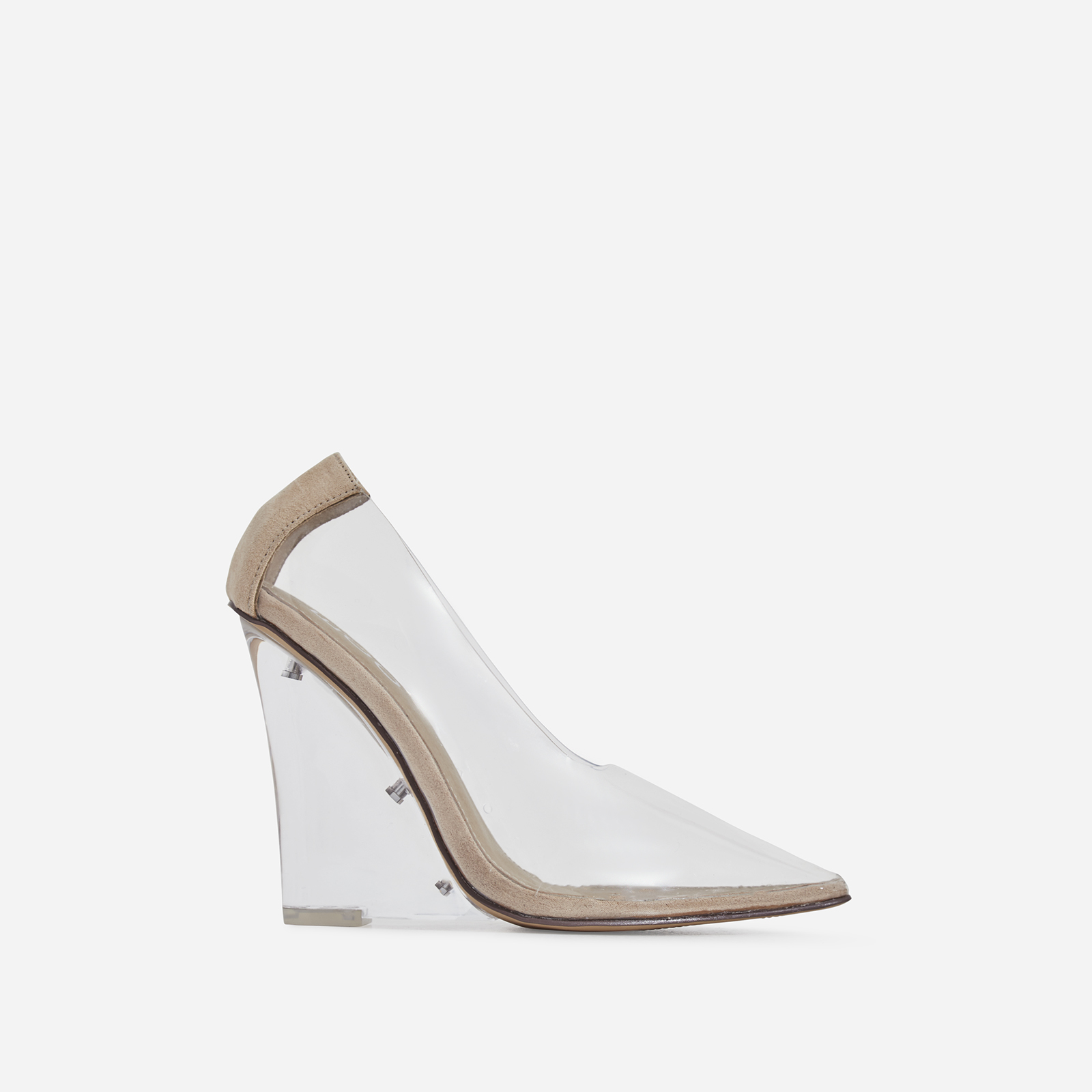 Playdate Perspex Wedge Block Court Heel In Nude Faux Suede