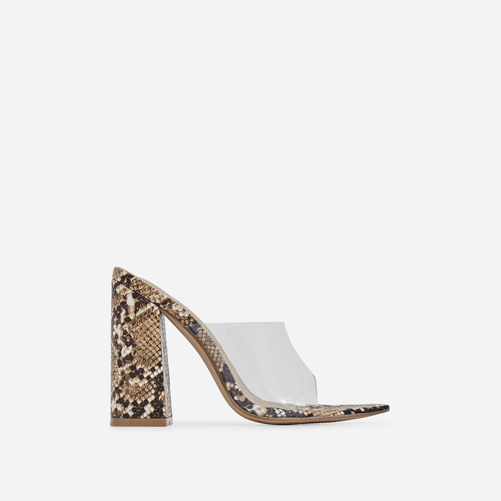 Kelby Pointed Peep Toe Block Heel Mule In Nude Snake Print Faux Leather
