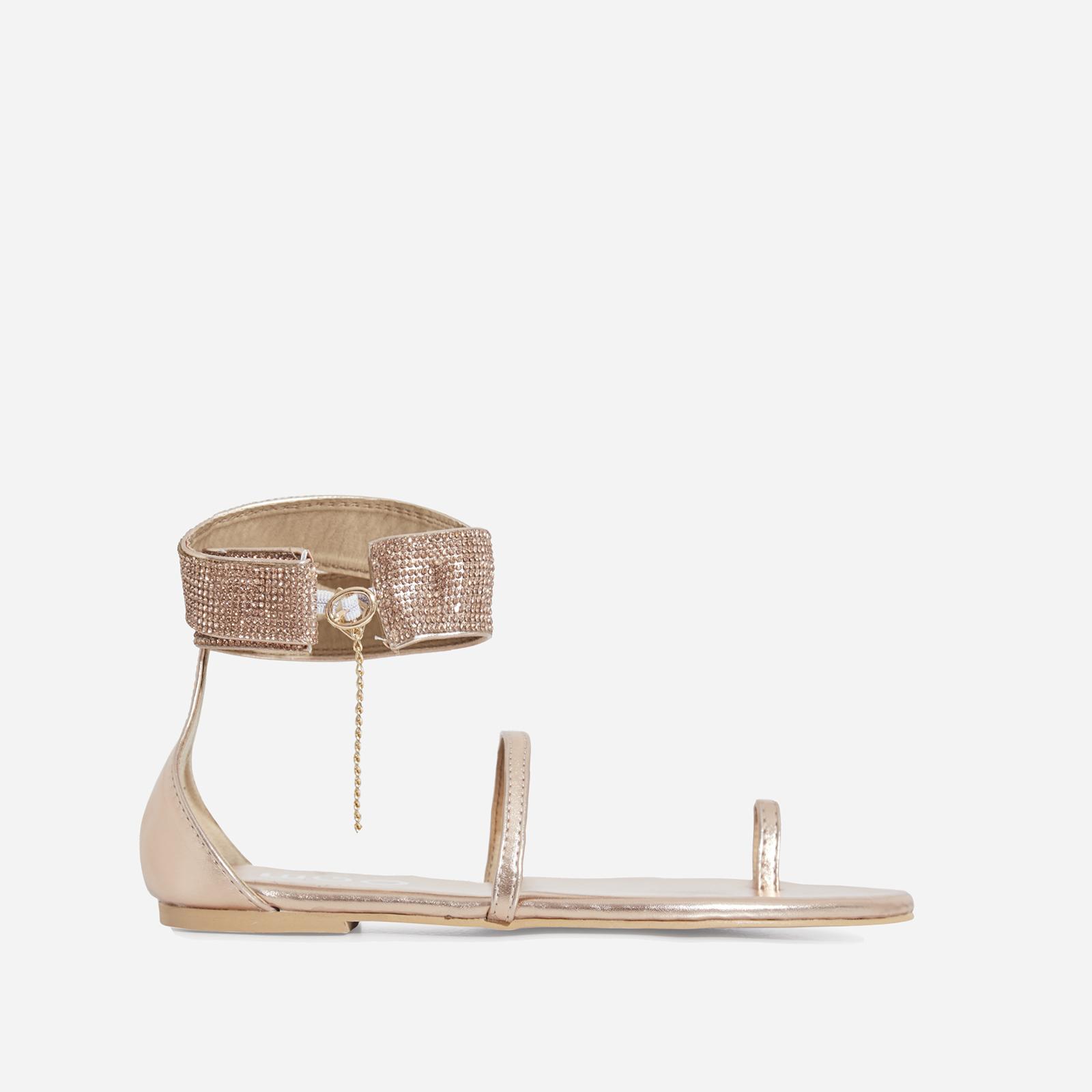 Kelia Diamante Detail Strap Sandal In Rose Gold Faux Leather