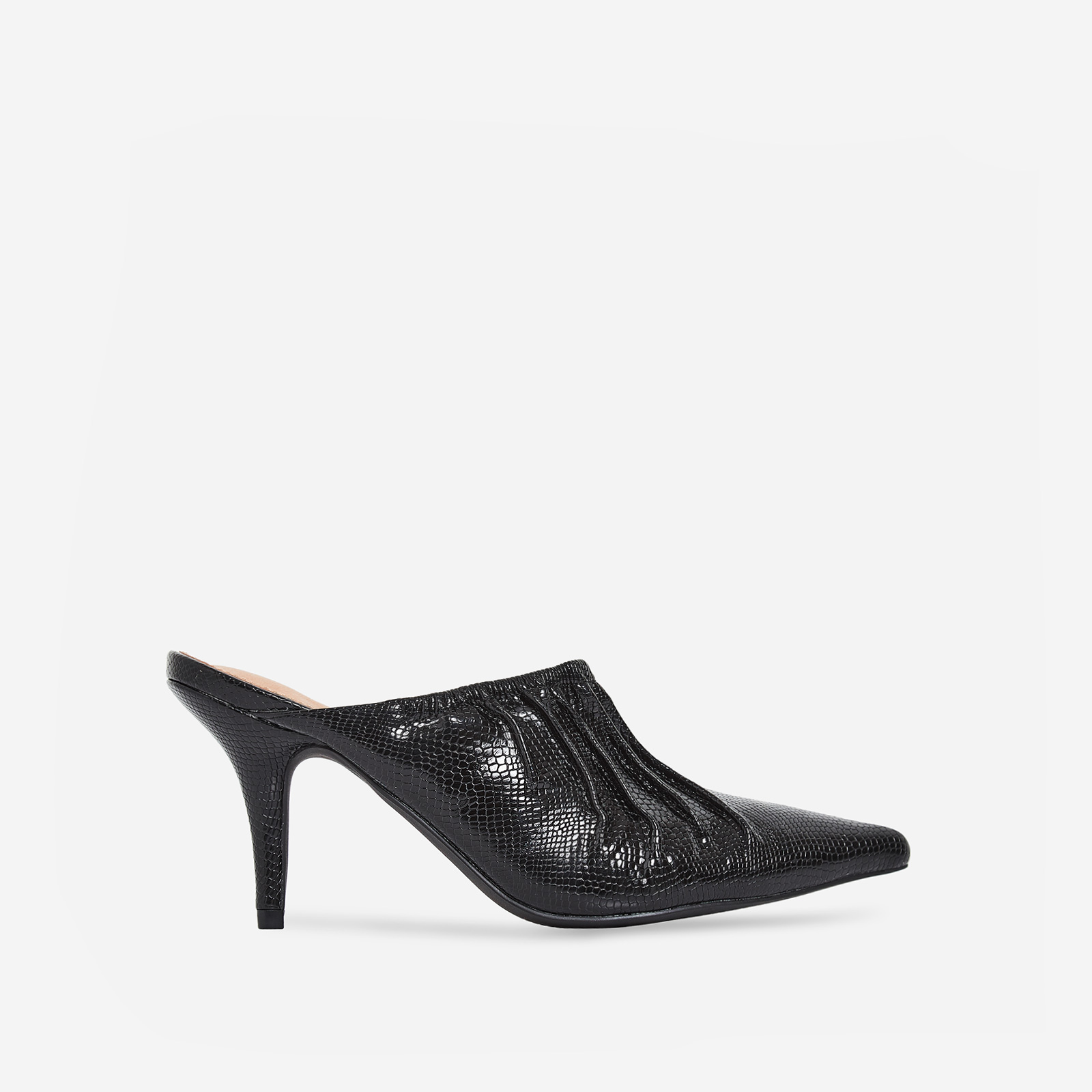 Kenza Pointed Heel Mule In Black Snake Print Patent