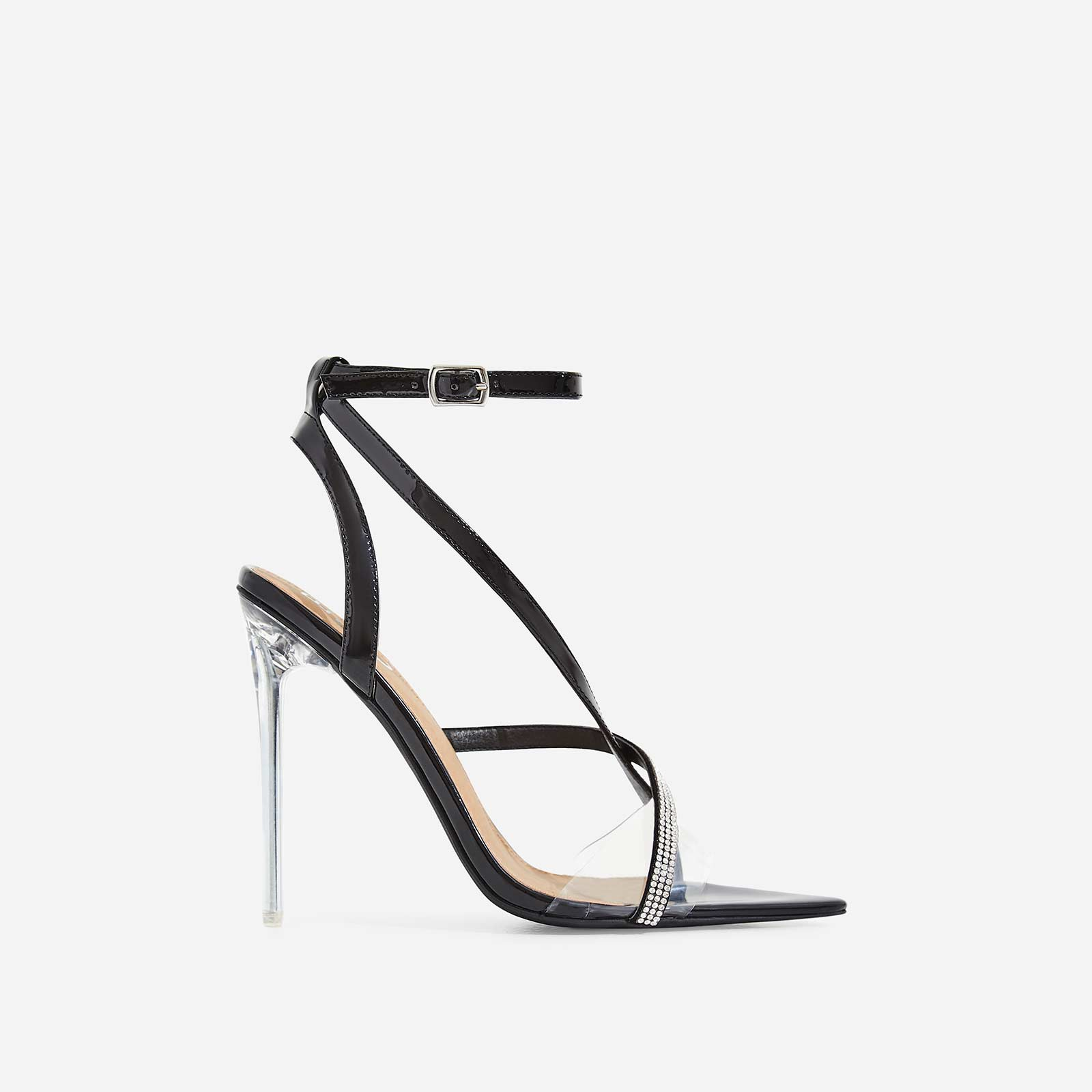 Khloe Dimante Pointed Perspex Heel In Black Patent