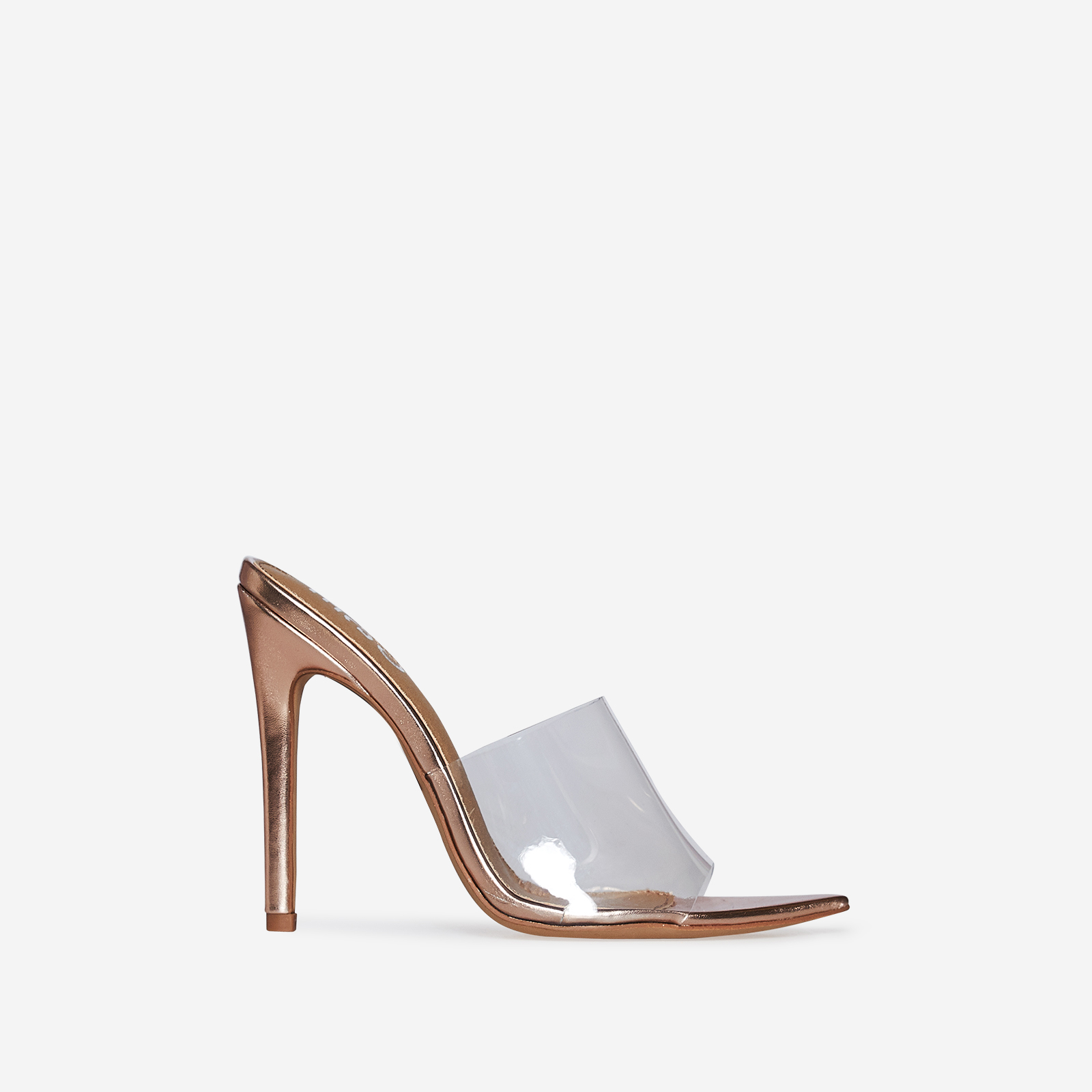 Kilo Perspex Peep Toe Mule In Rose Gold Patent