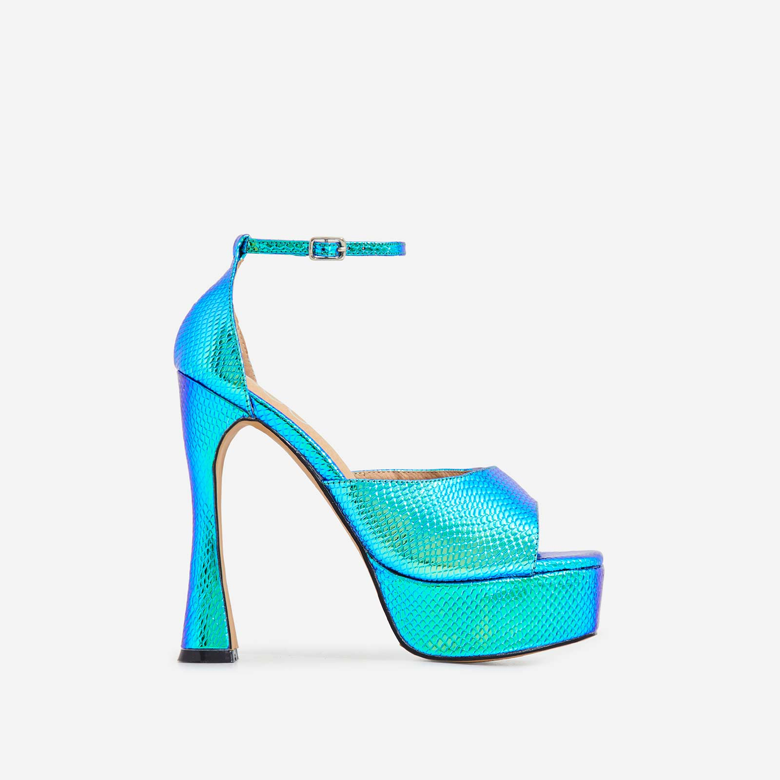 Kimmie Square Toe Platform Curved Heel In Metallic Blue Snake Print Faux Leather