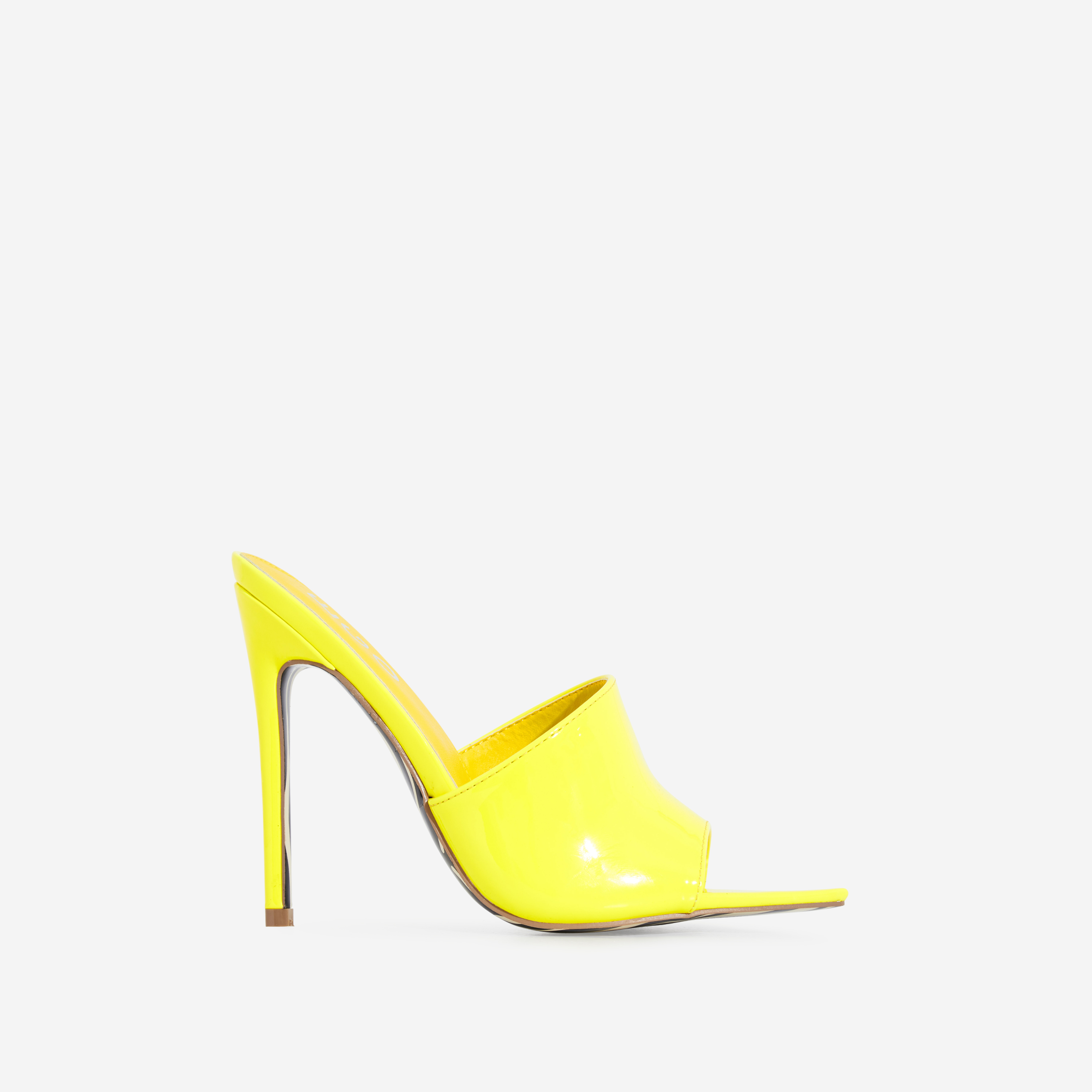 Koko Zebra Print Sole Pointed Peep Toe Mule In Yellow Patent