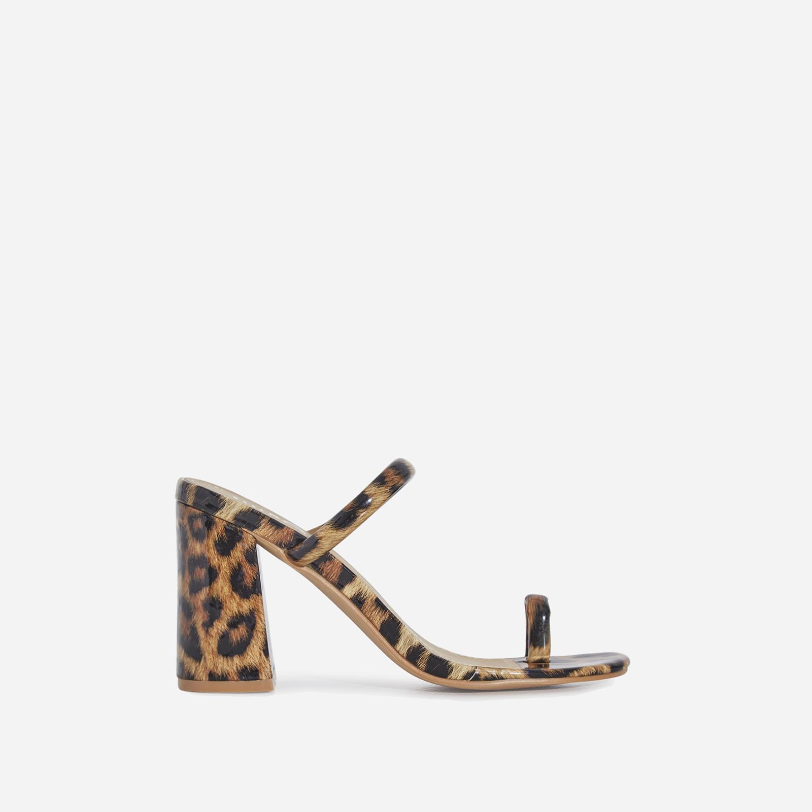 Kourt Toe Strap Black Heel Mule In Tan Leopard Print Patent