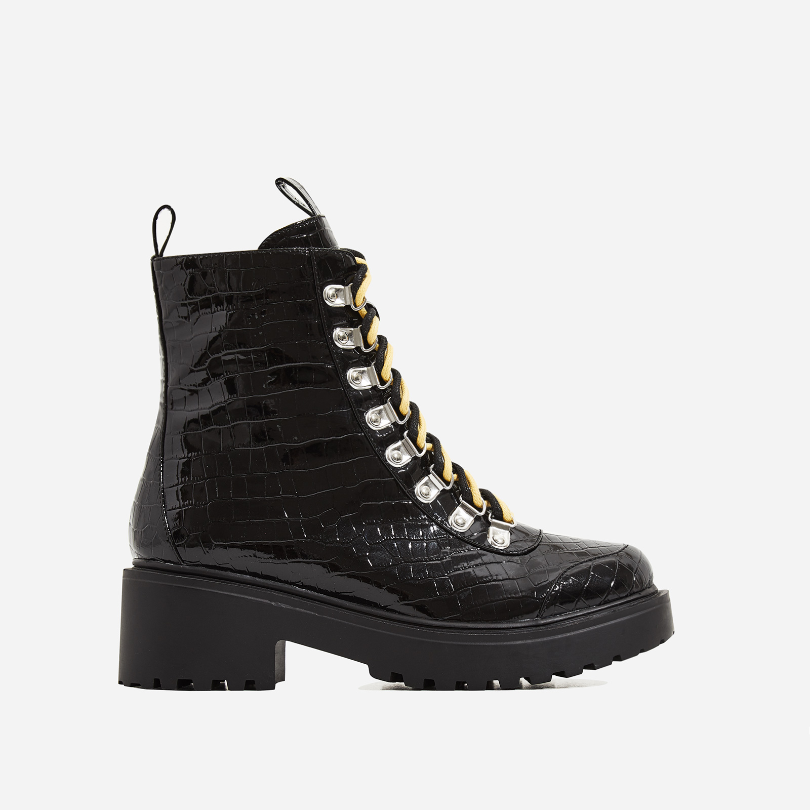 Kris Chunky Sole Lace Up Ankle Biker Boot In Black Croc Print Patent