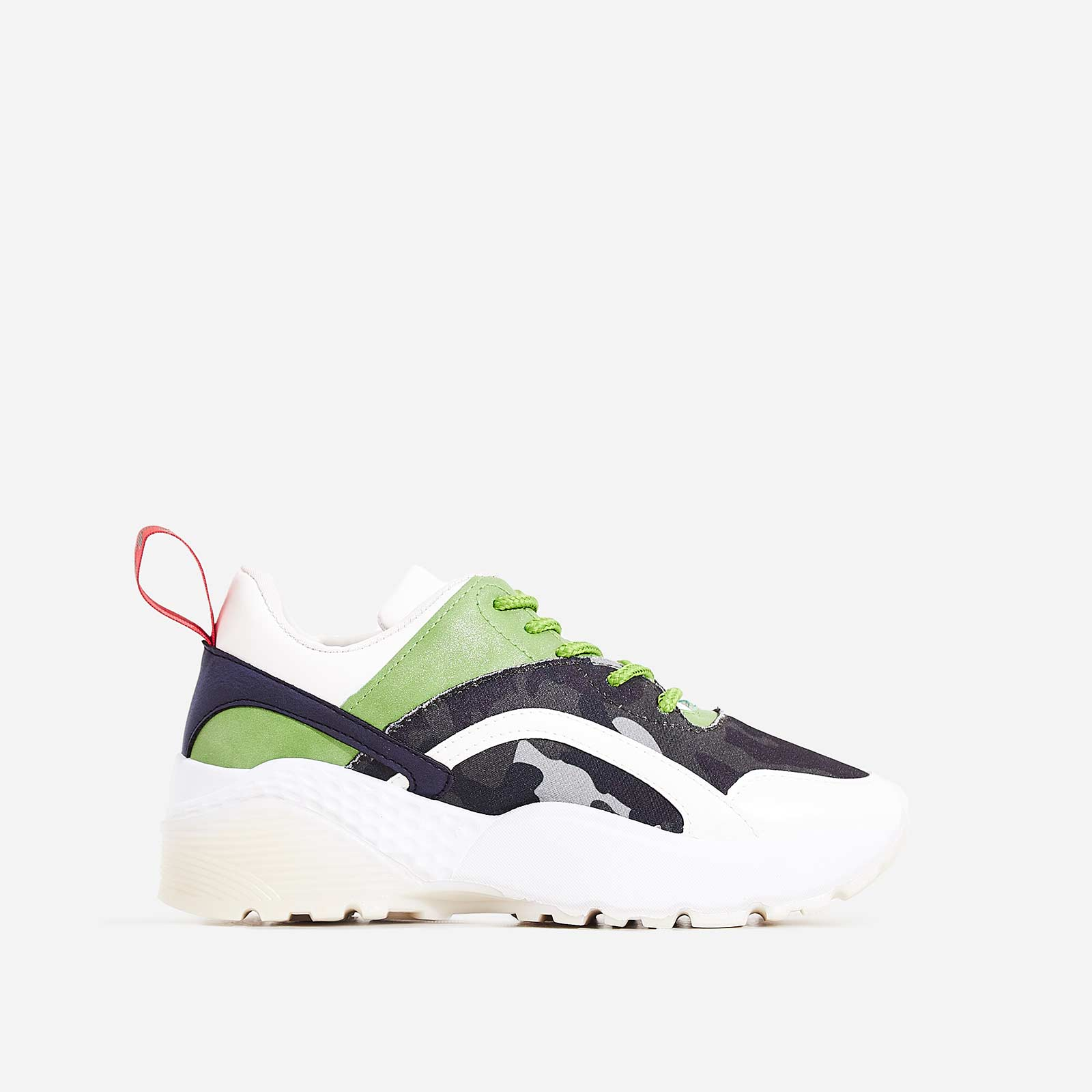 Aero Chunky Sole Trainer In Green Camouflage