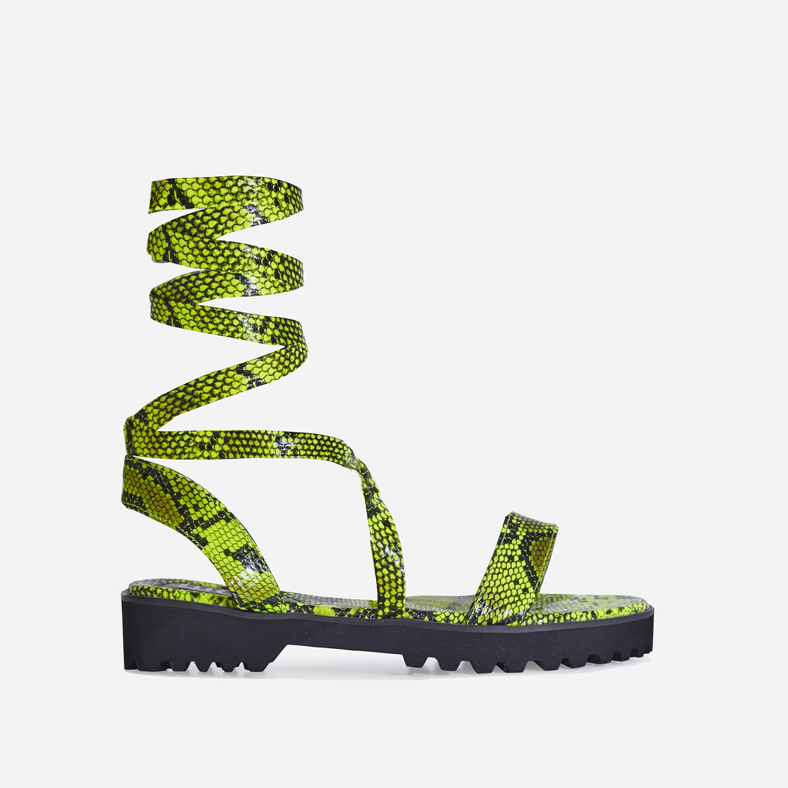 Larkin Lace Up Flat Sandal In Neon Yellow Snake Print Faux Leather