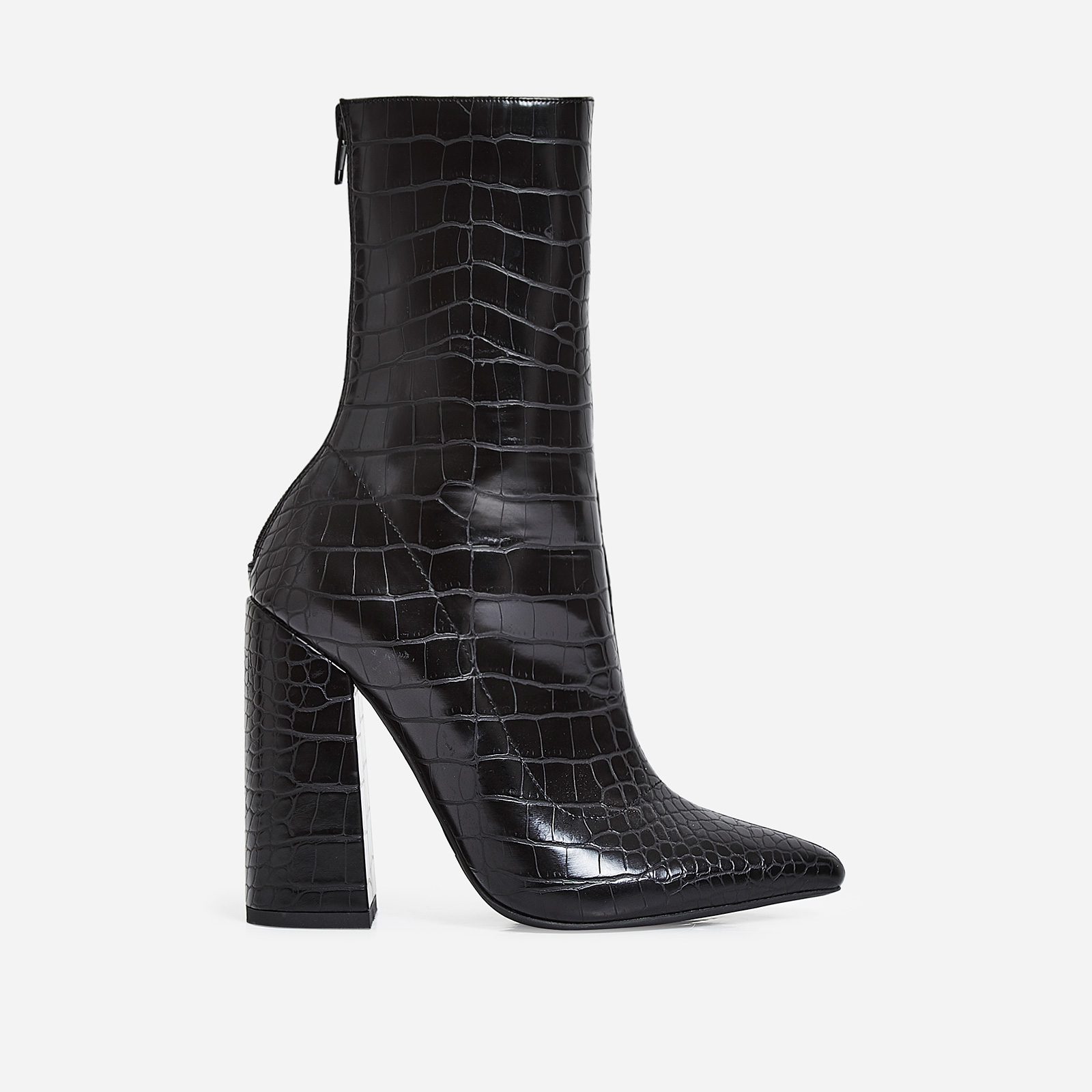 Laura Block Heel Ankle Boot In Black Croc Faux Leather