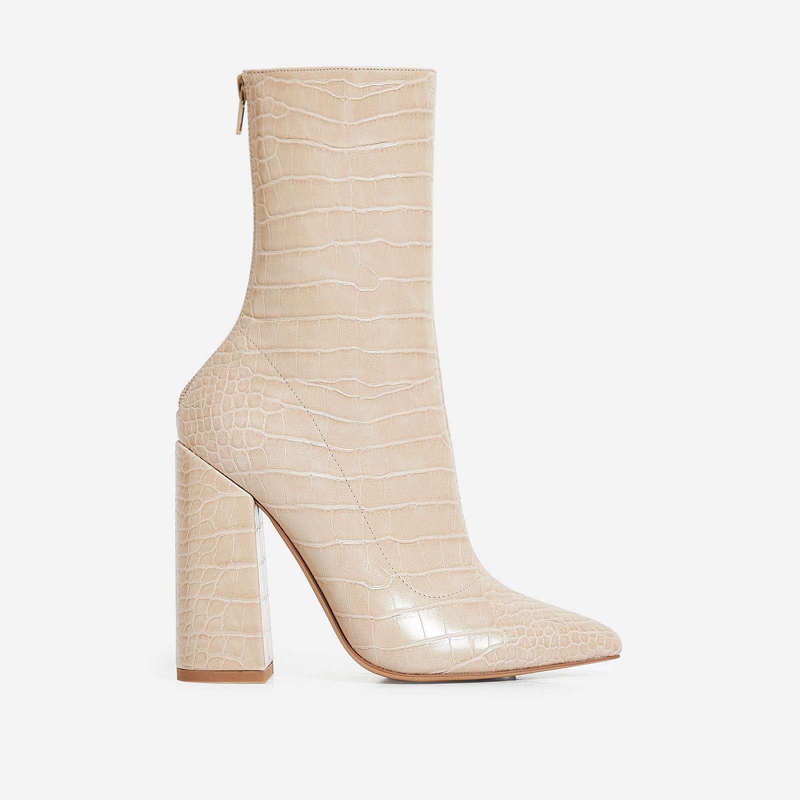 Laura Block Heel Ankle Boot In Nude Croc Faux Leather