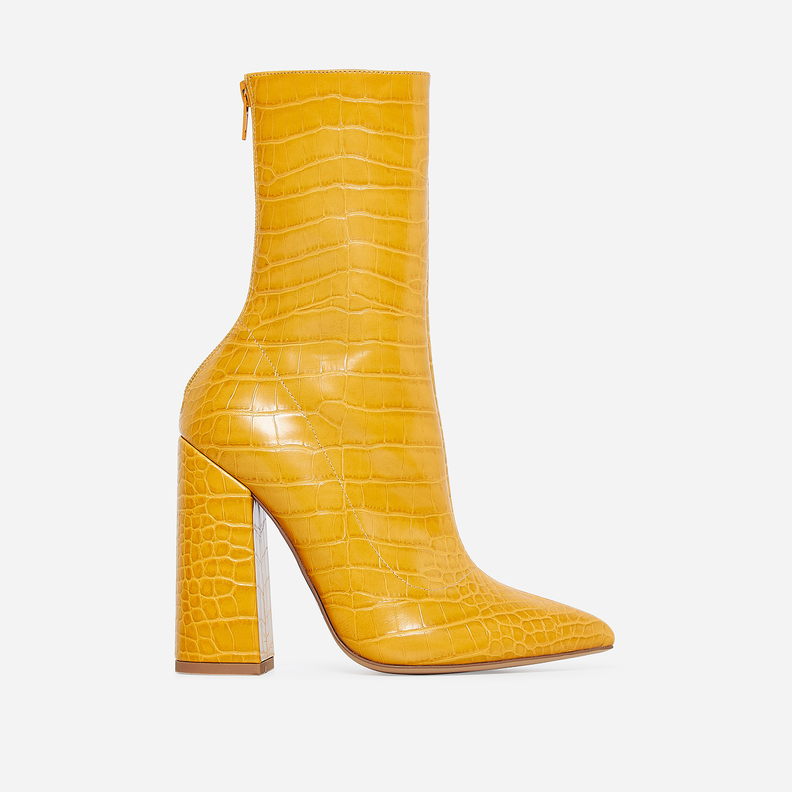 Laura Block Heel Ankle Boot In Yellow Croc Faux Leather
