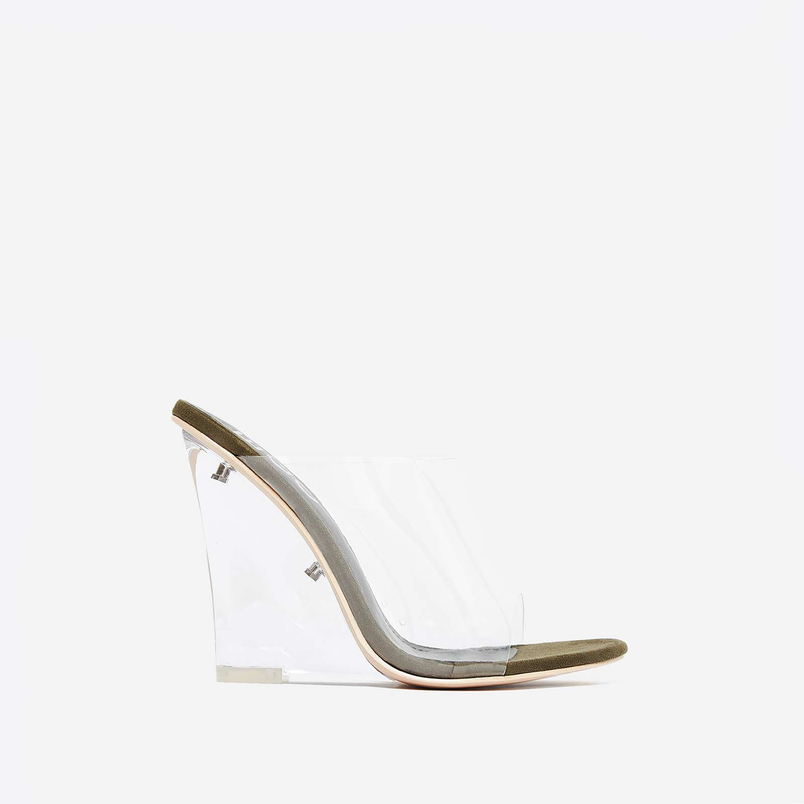 Lemonade Perspex Wedge Mule In Khaki Faux Suede
