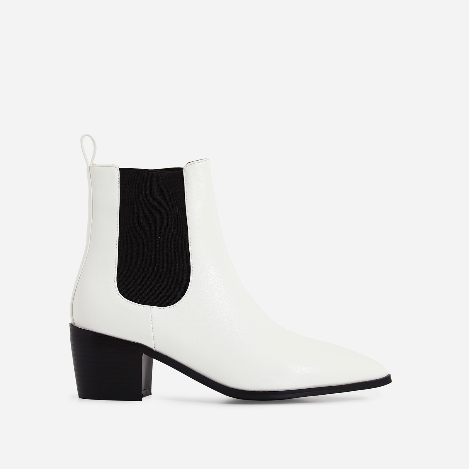 Leonie Ankle Chelsea Boot In White Faux Leather