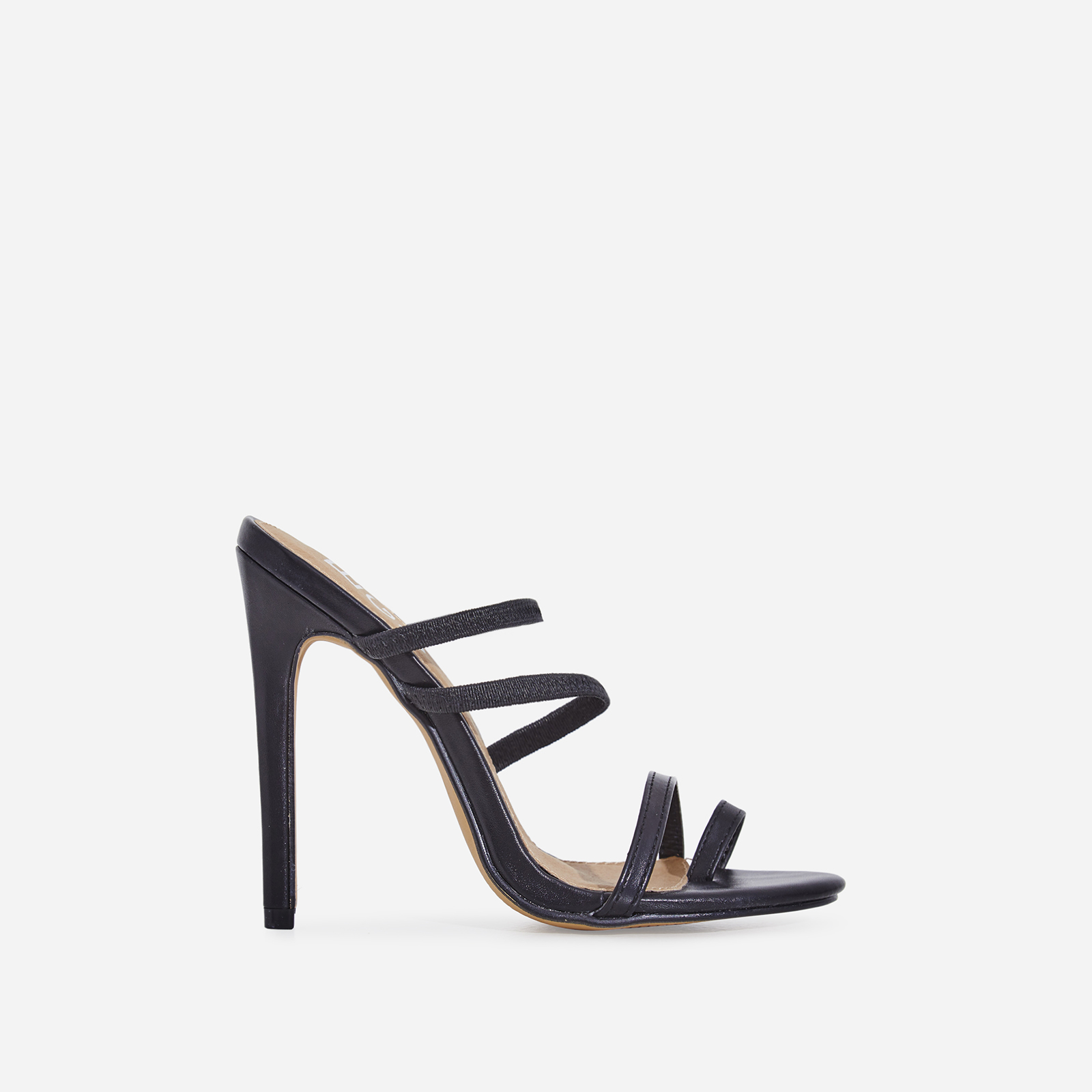 Letty Toe Strap Heel Mule In Black Faux Leather