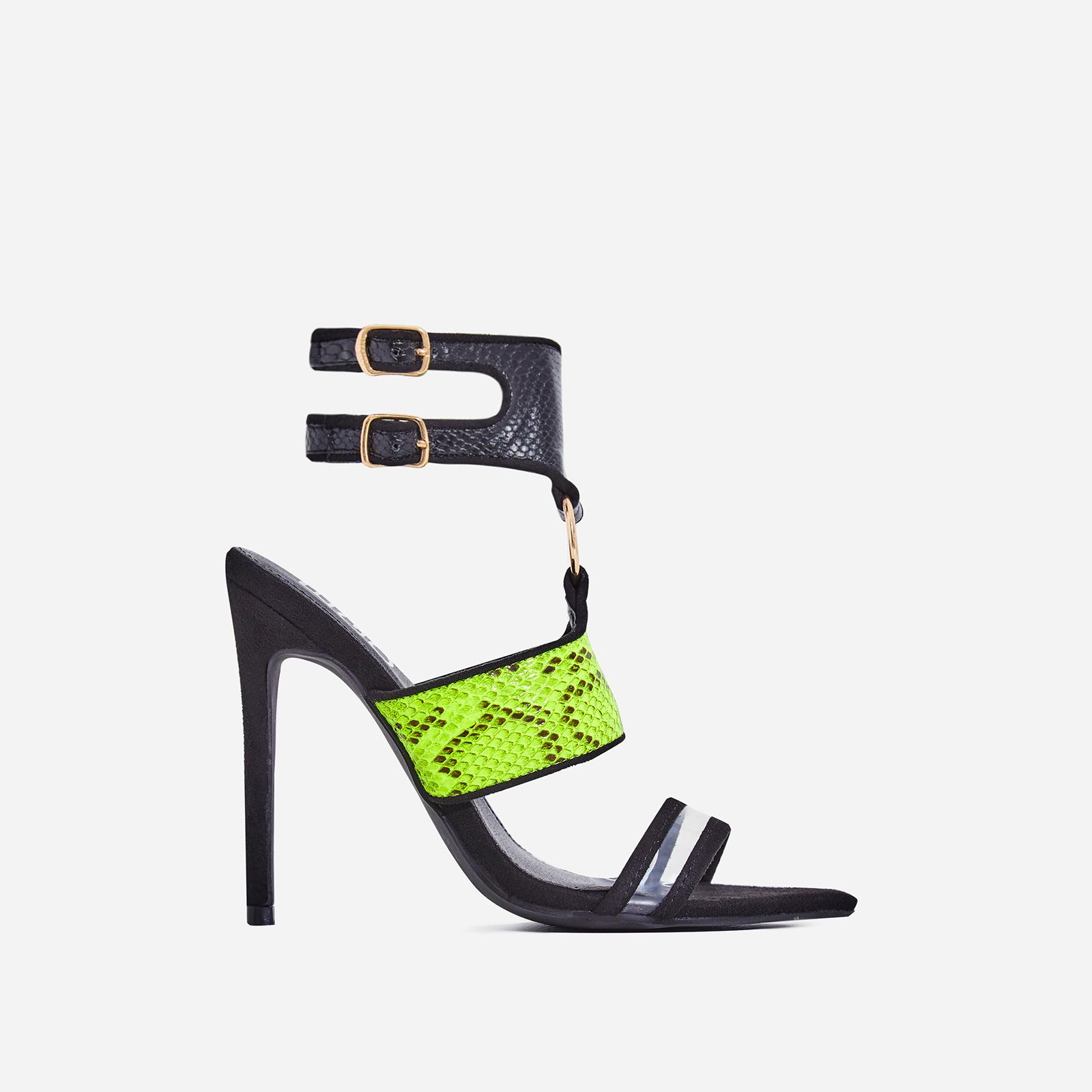 Lex Green Snake Print Perspex Cage Heel In Black Faux Suede