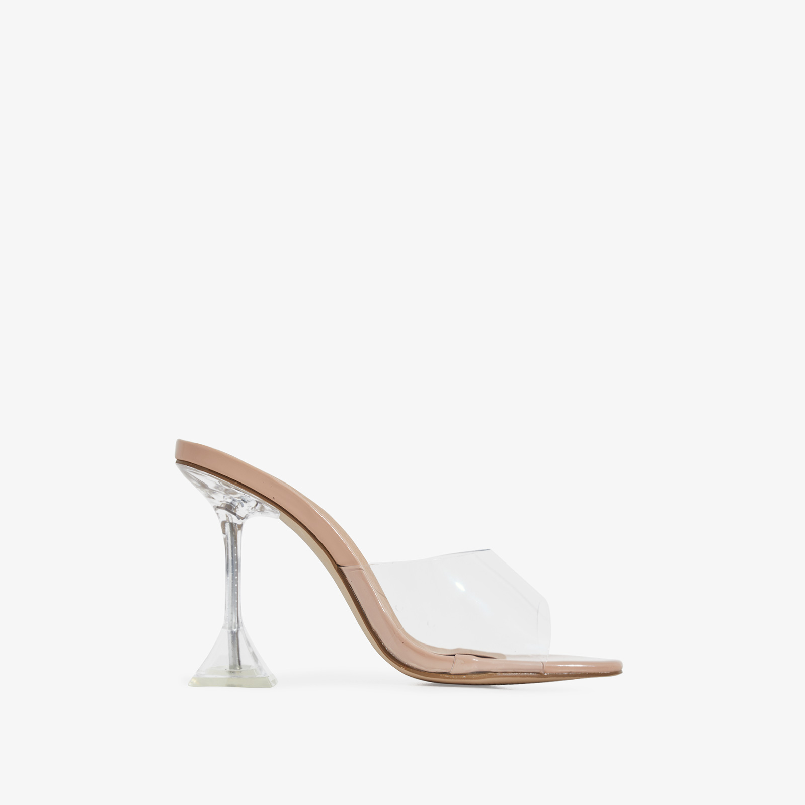 Lila Square Toe Perspex Clear Heel Mule In Nude Patent