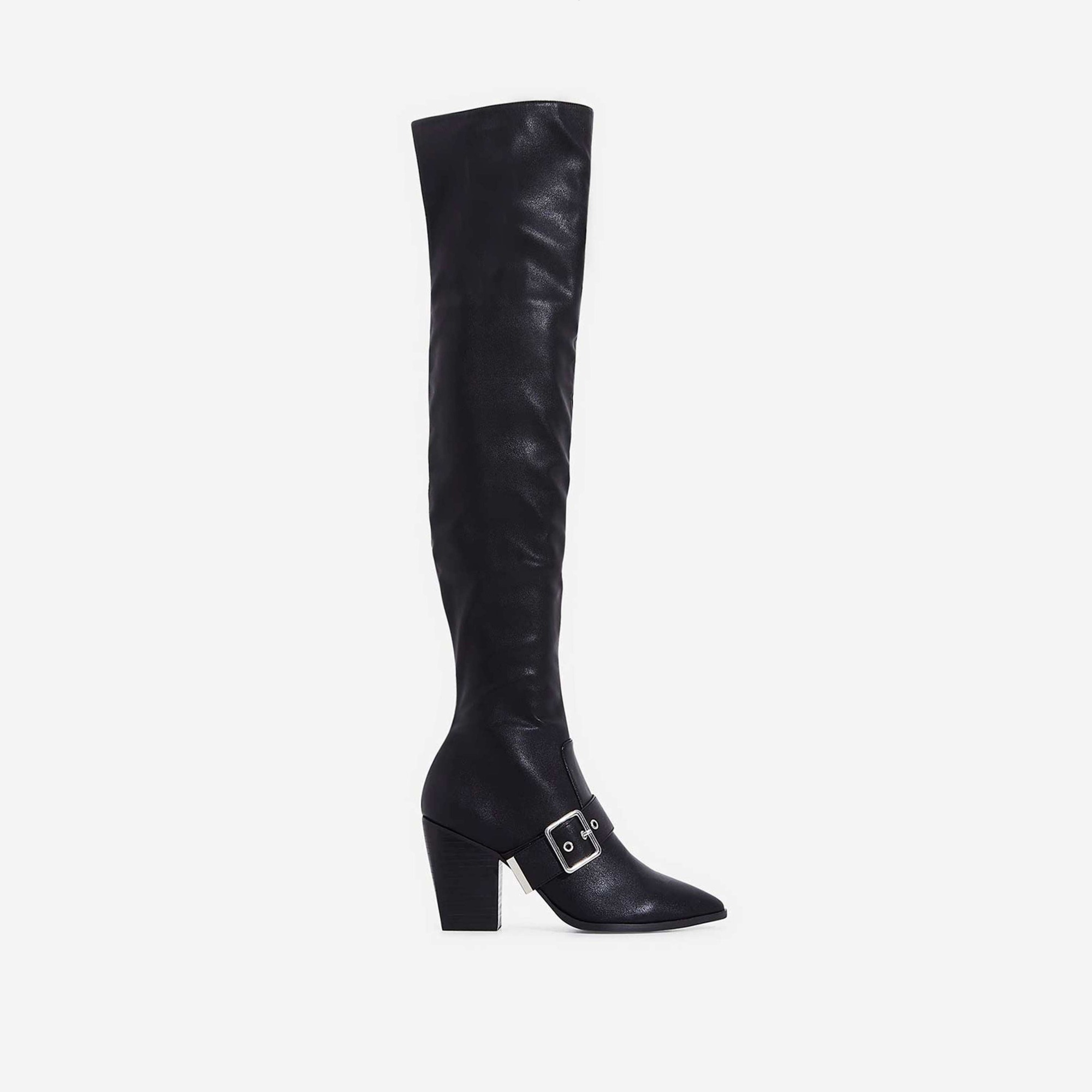 Lily Buckle Detail Over The Knee Long Boot In Black Faux Leather