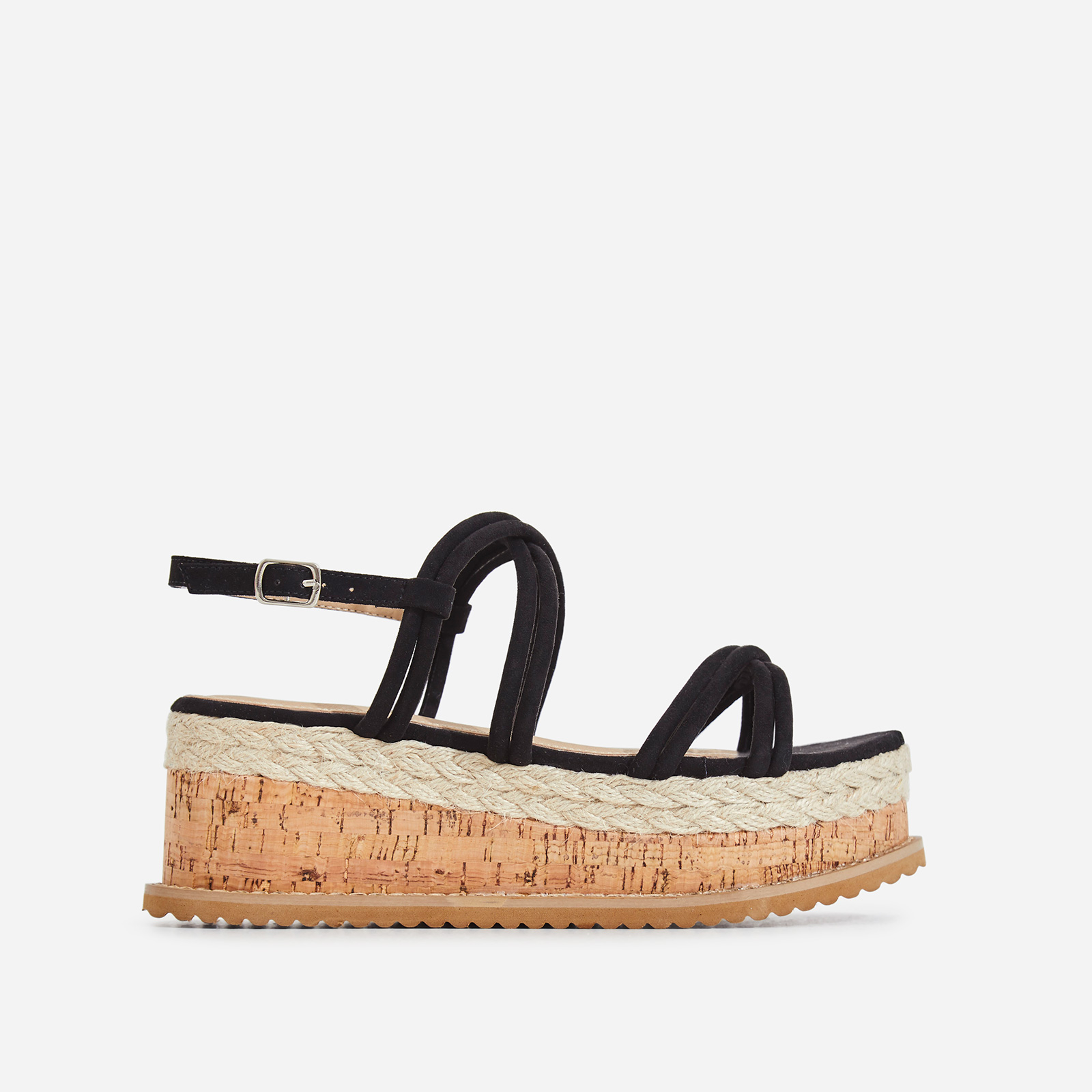 Lizzo Espadrille Flatform Sandal In Black Faux Suede