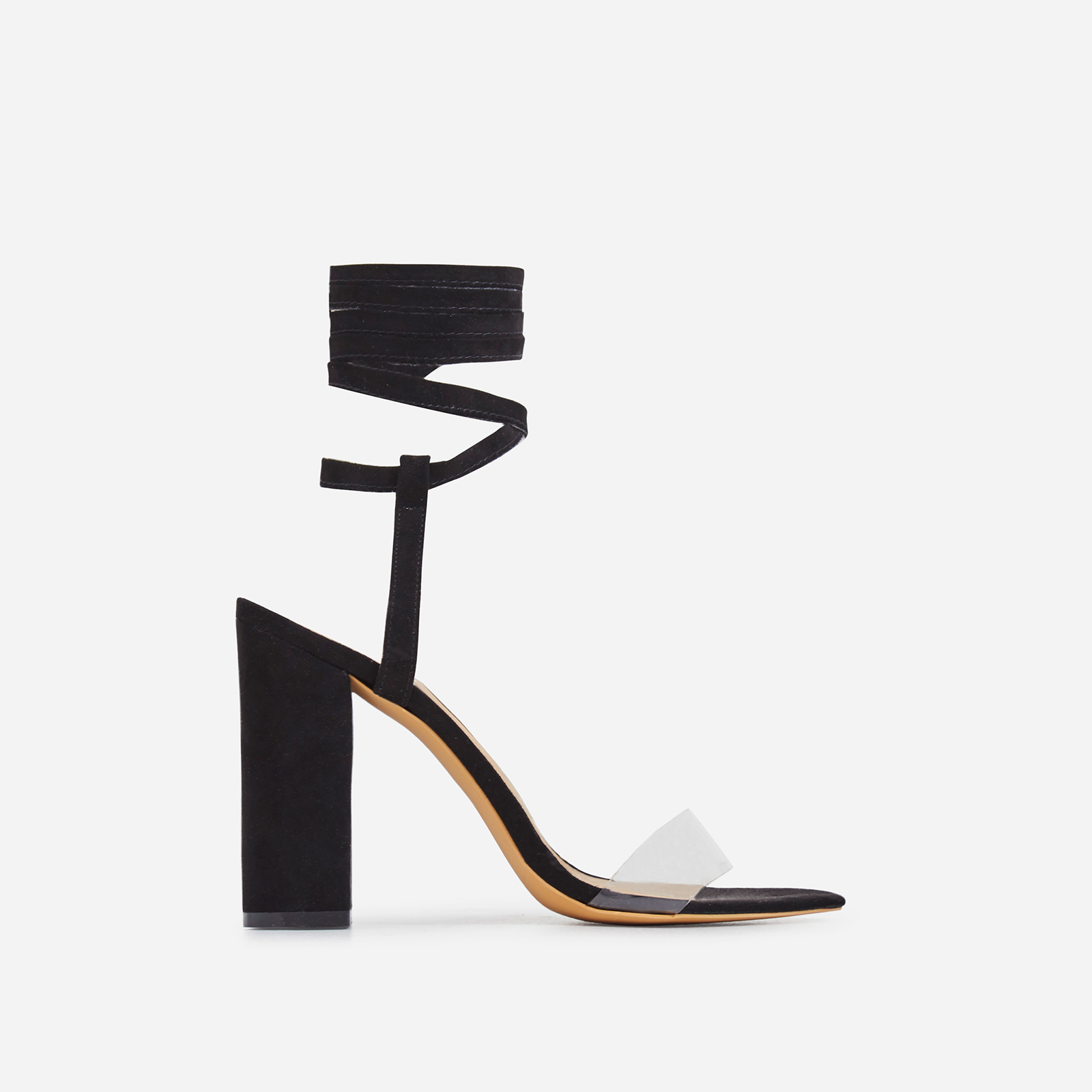 Monnie Lace Up Perspex Block Heel In Black Faux Suede