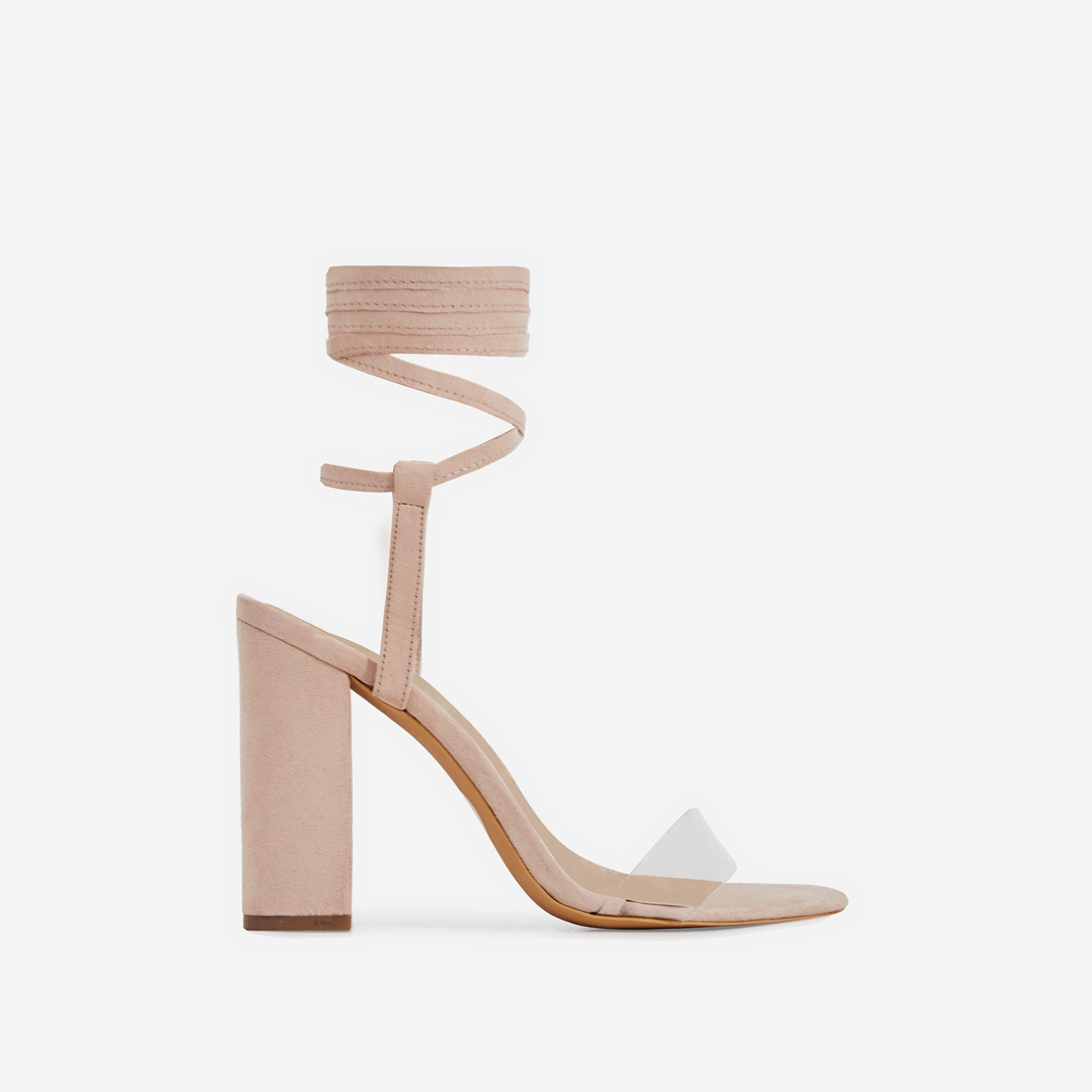 Monnie Lace Up Perspex Block Heel In Nude Faux Suede