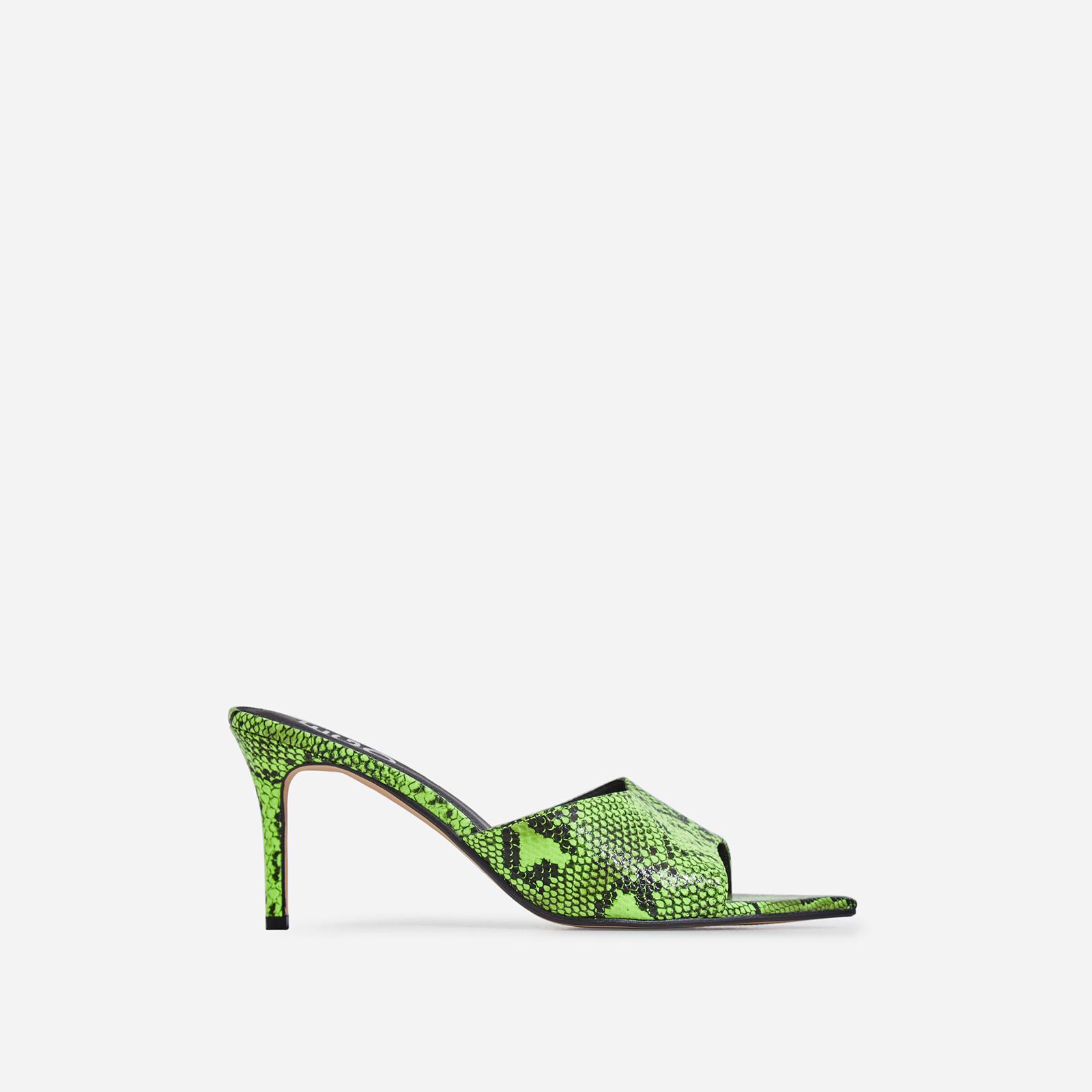 Sansa Pointed Peep Toe Heel Mule In Lime Green Snake Print Faux Leather